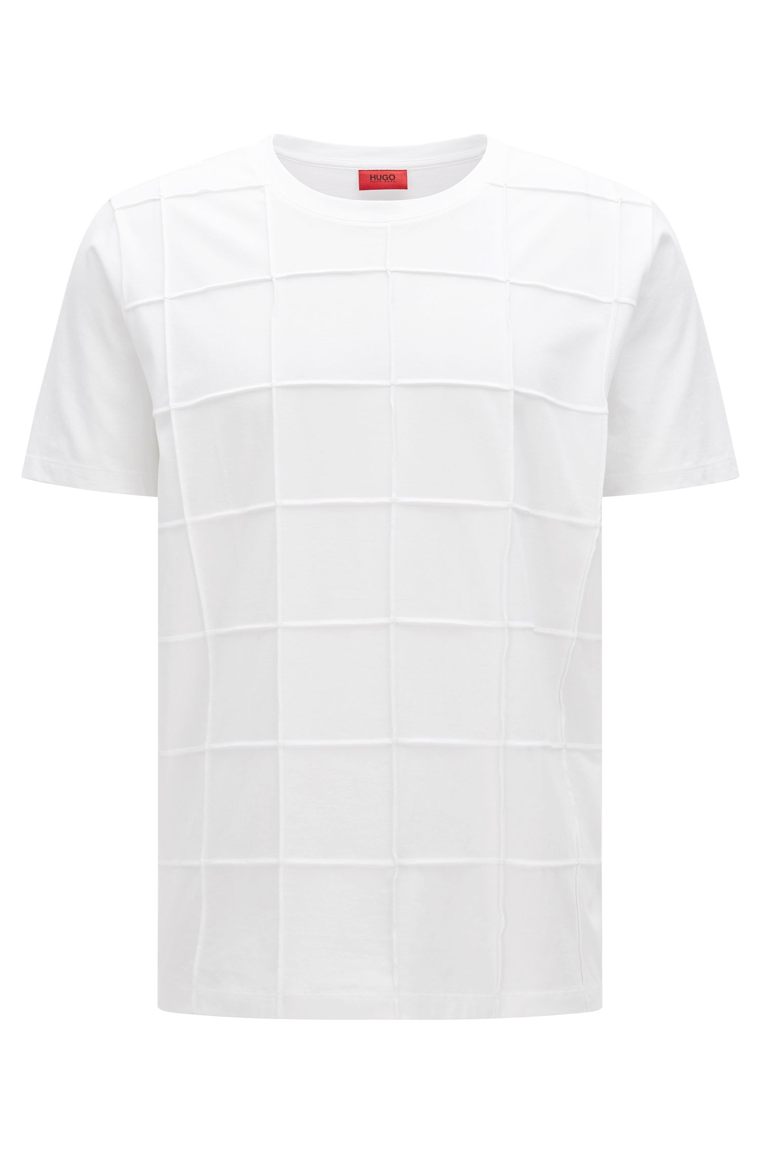 Relaxed-fit t-shirt in pima cotton with patchwork checks: 'Devy'