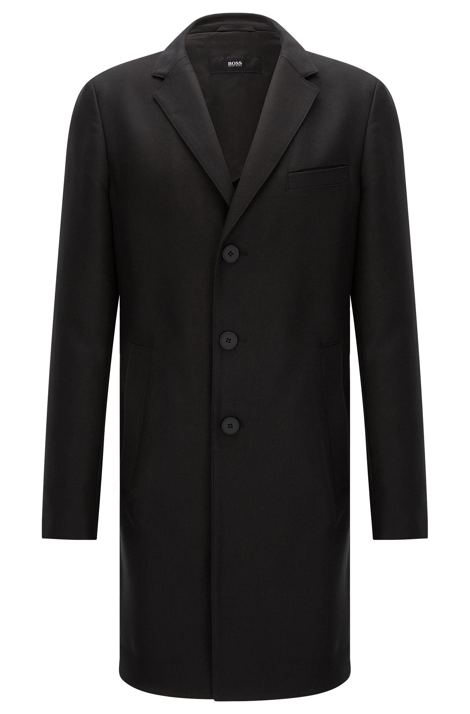 Water-repellent extra slim-fit coat in lyocell blend with cotton: 'Shawn3'