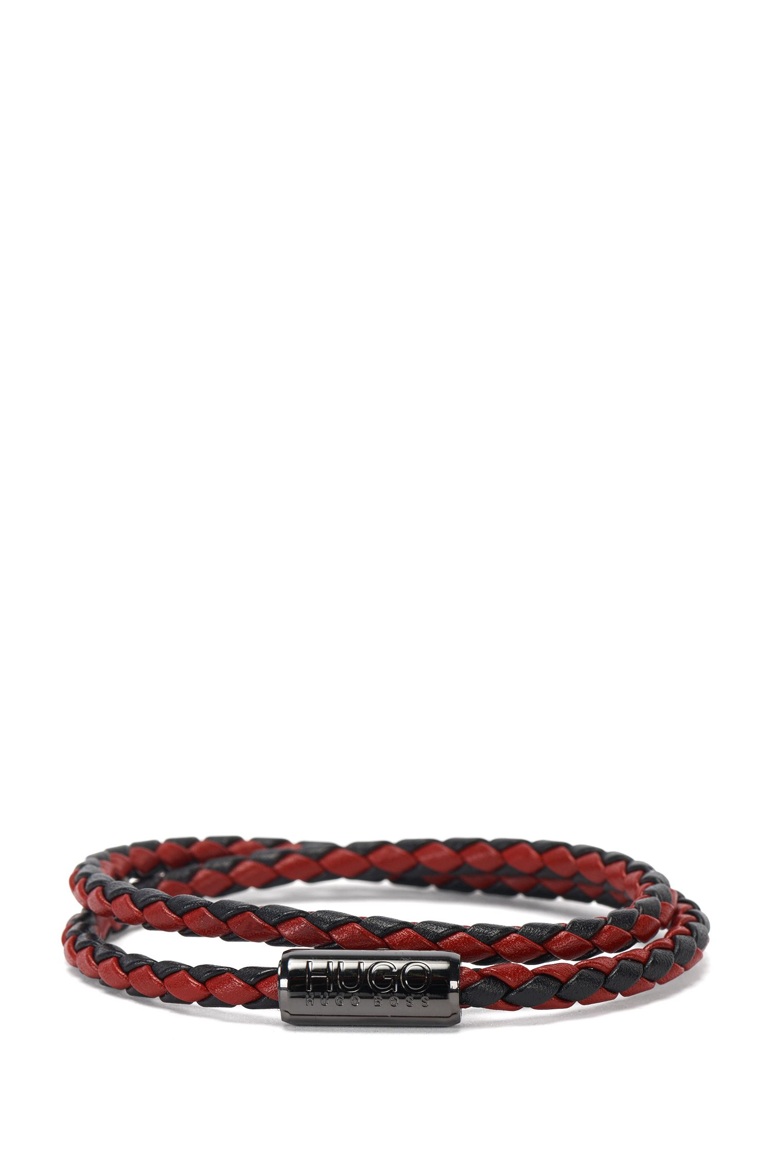 Leather wrap bracelet in a braided look: 'E-Braid'