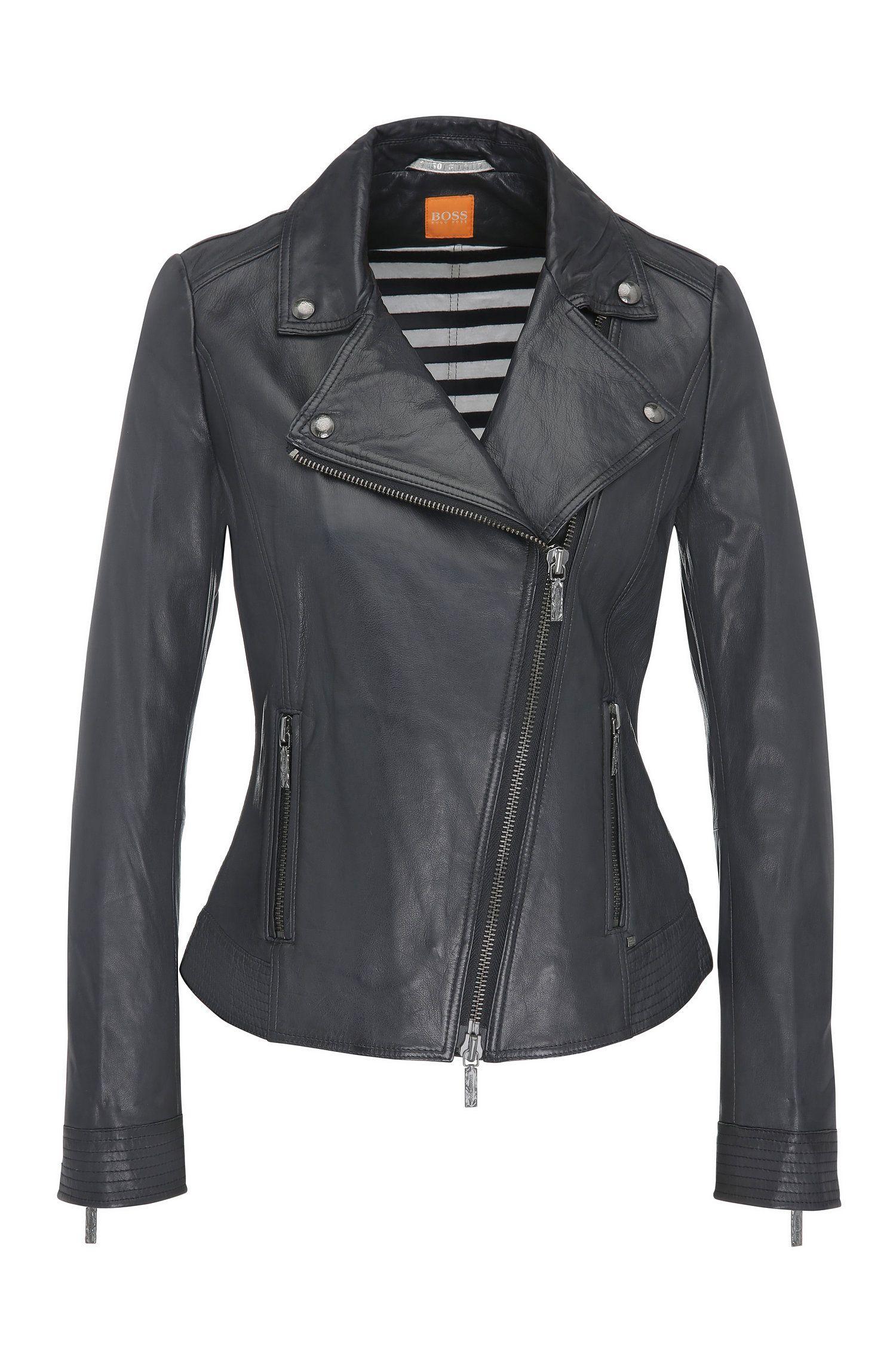 Leather biker-look jacket with lapel collar: 'Jamela2'