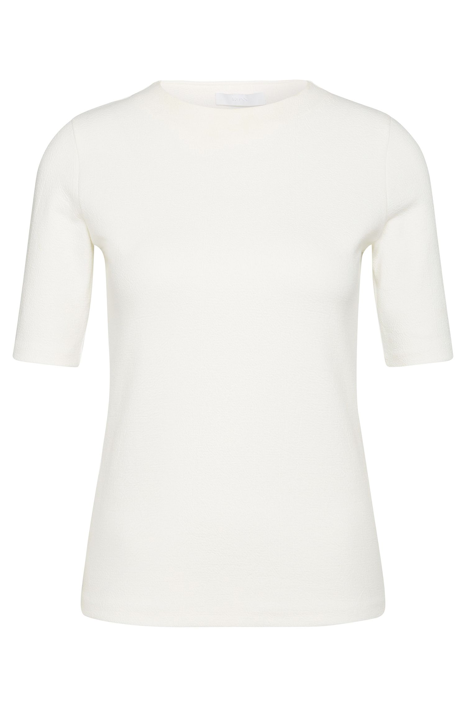 Half-sleeve top in stretchy cotton blend: 'Eriane'