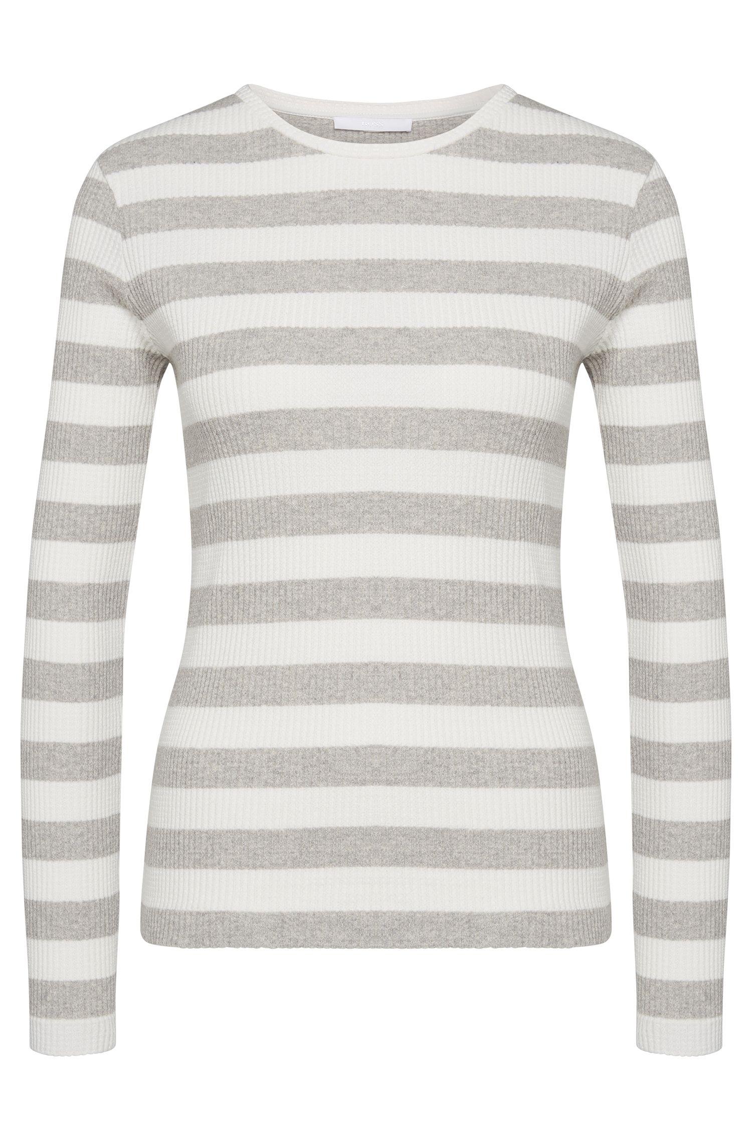 Striped sweater in stretch cotton: 'Eriba'