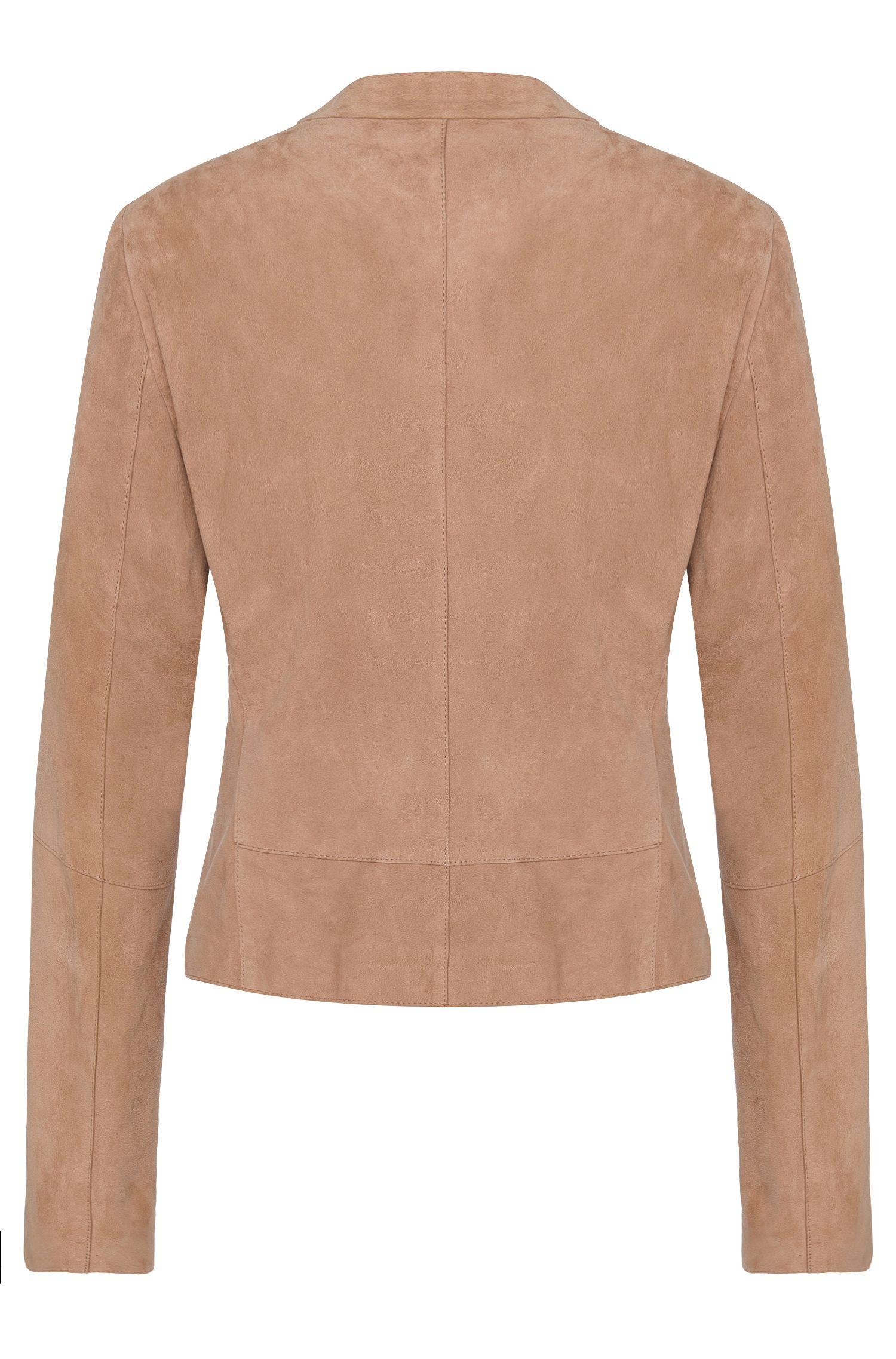 Getailleerde leren jas met open voorkant: 'Lariani'