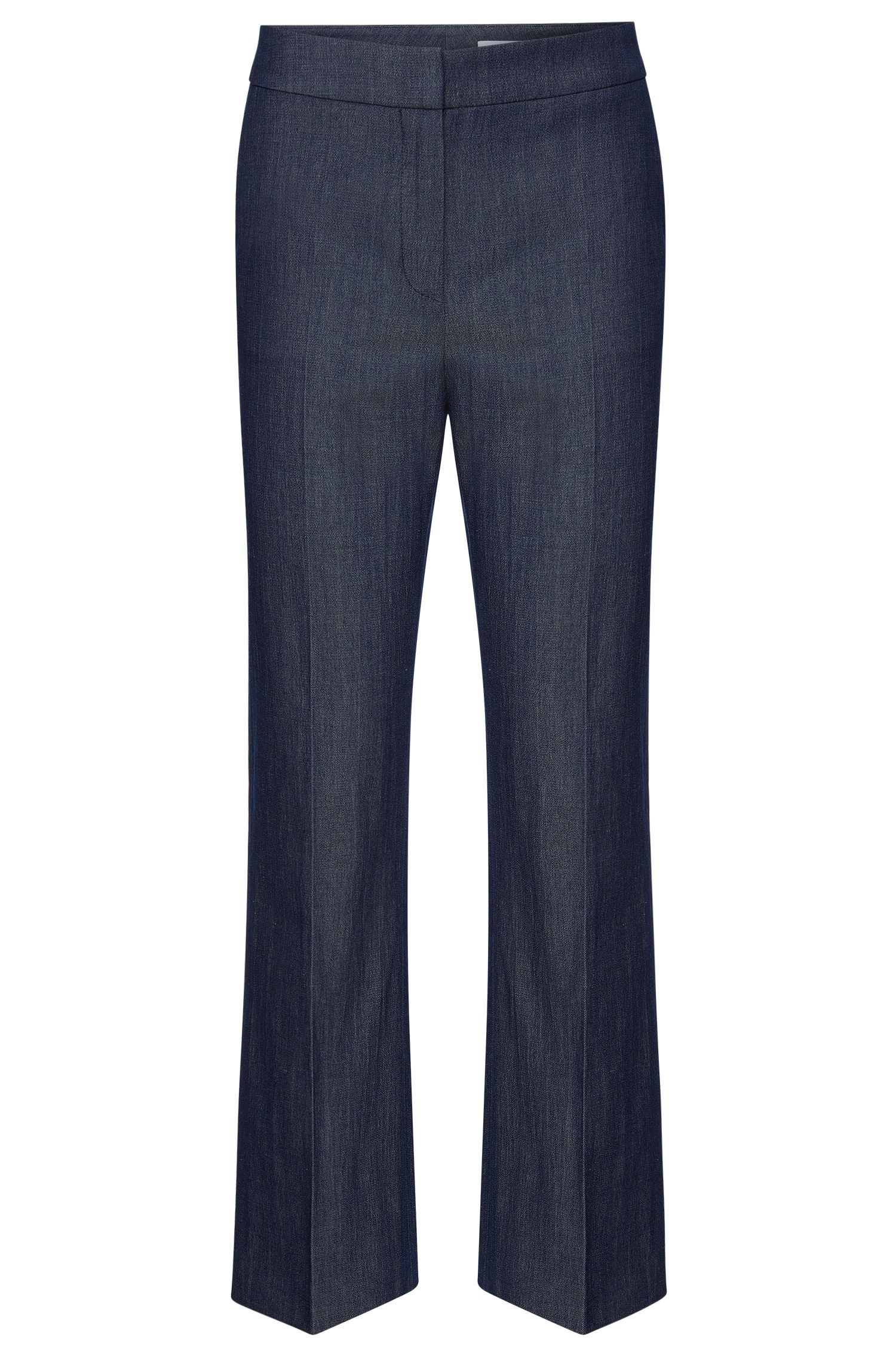 Regular-fit trousers in stretchy new wool blend with linen: 'Allery'