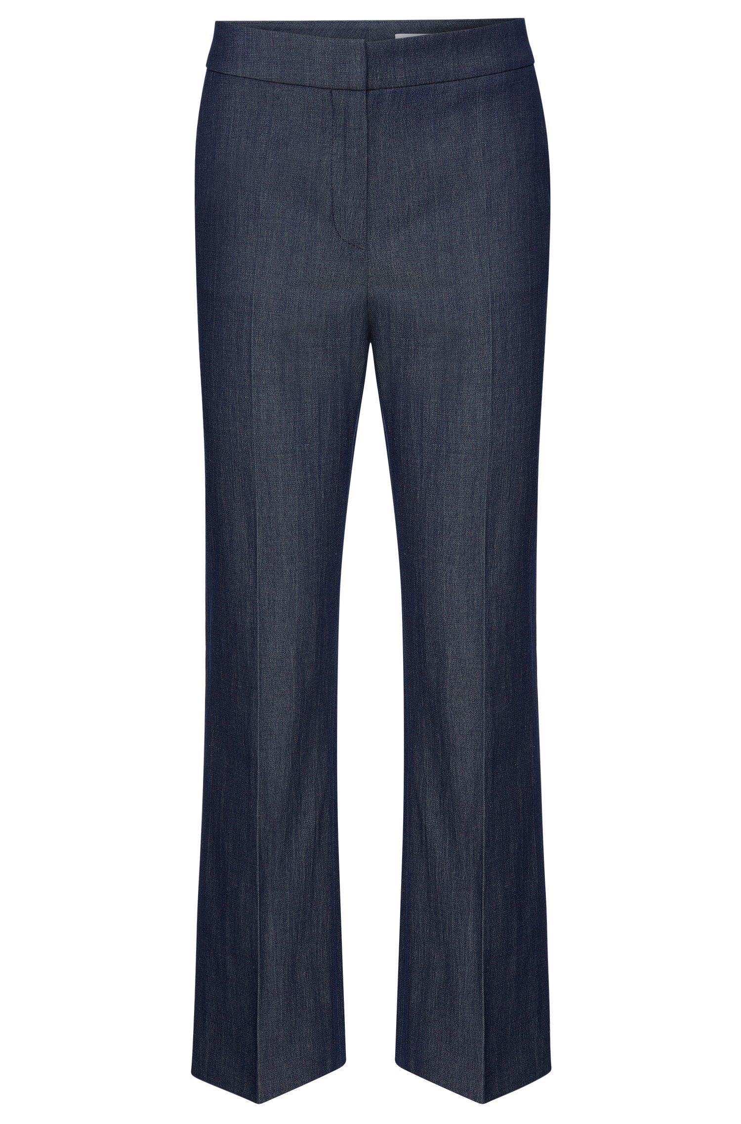 Pantalon Regular Fit en laine vierge extensible mélangée à du lin: «Allery»