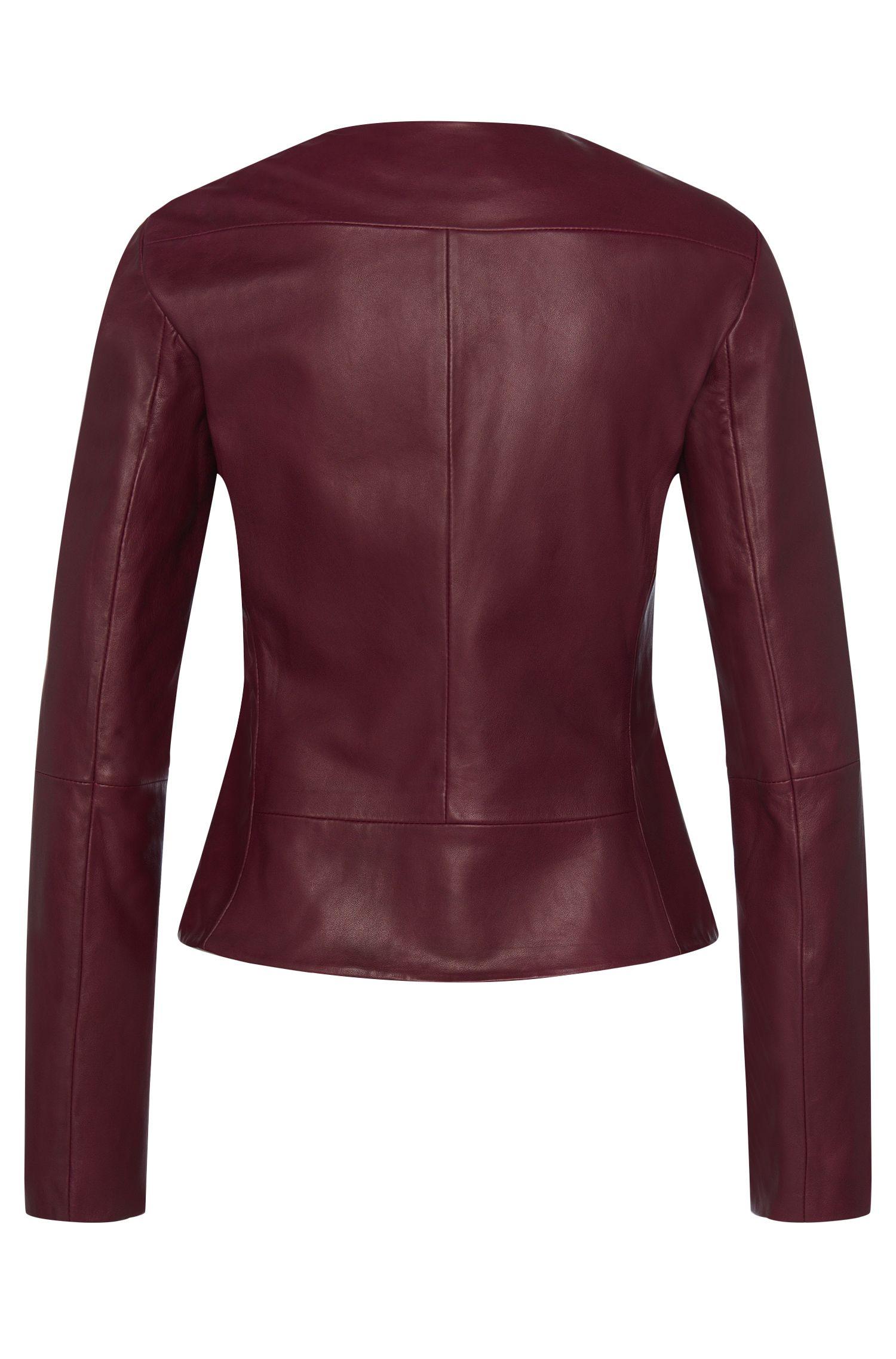 Taillierte Lederjacke mit Reißverschluss-Details: 'Lalici'