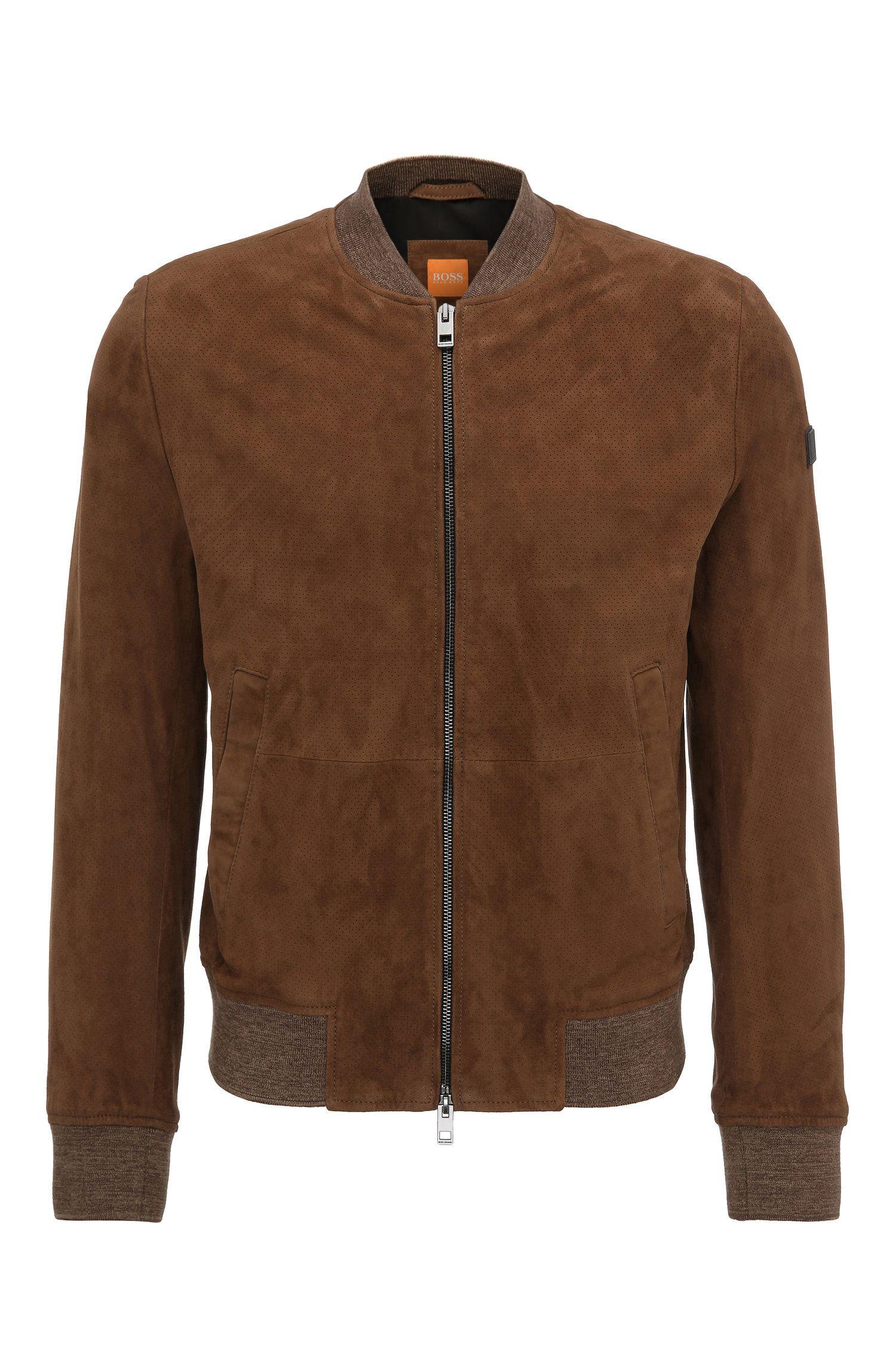 Leren slim-fit jas in blousonstijl met breiboorden: 'Jacket'