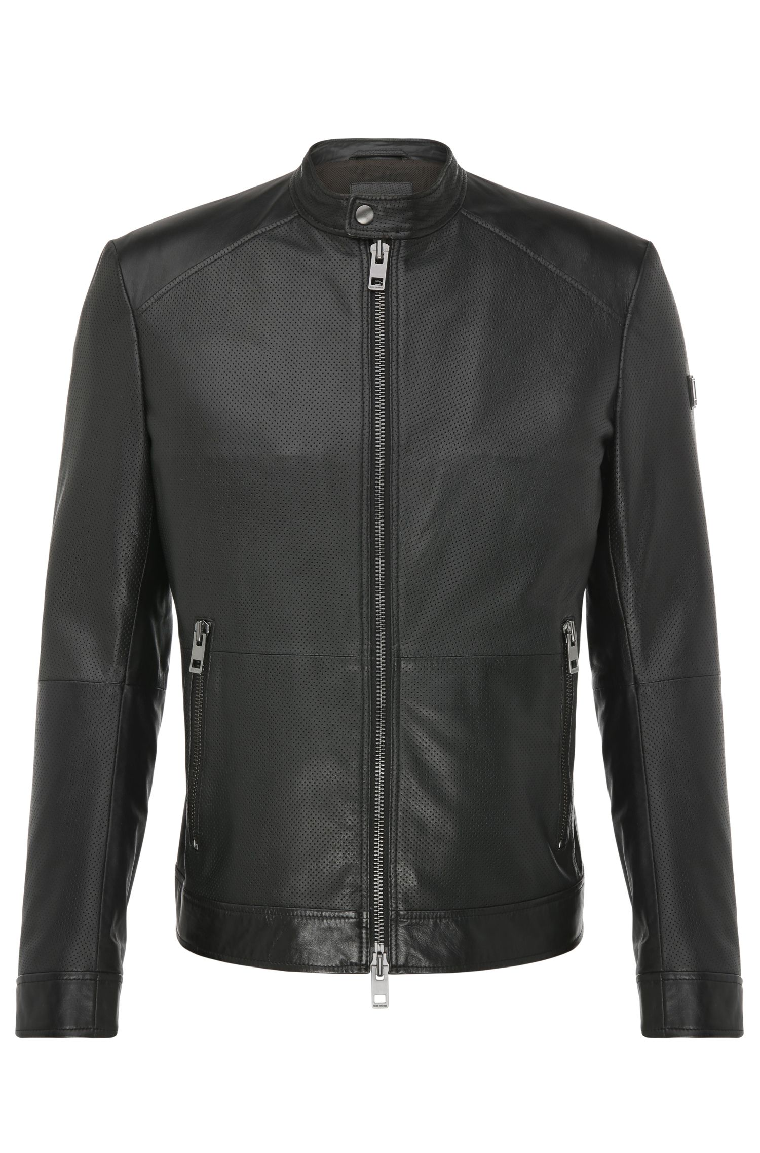 Slim-fit biker-style leather jacket: 'Jowen'