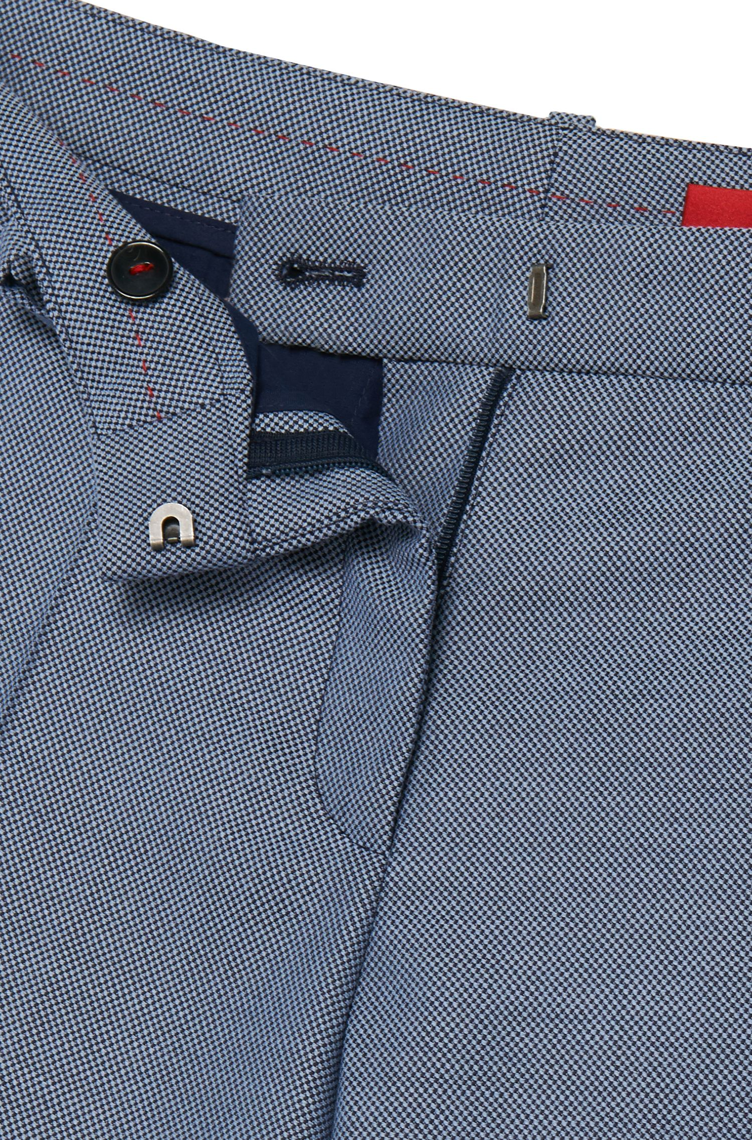 Fein gemusterte Bügelfaltenhose aus Stretch-Schurwolle: 'Hinass-5'