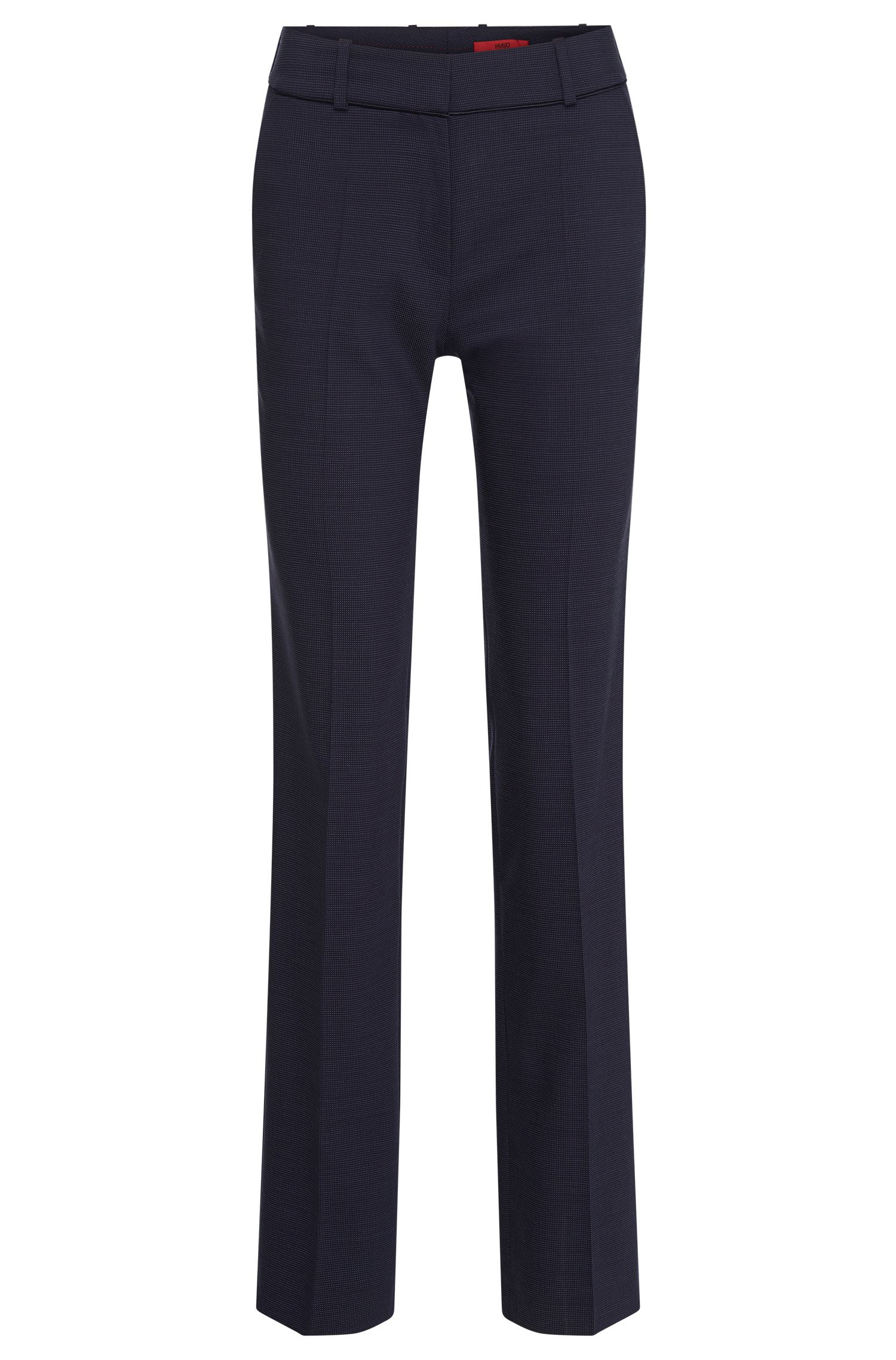Regular-fit trousers with pressed creases and a fine polka dot pattern in stretch new wool: 'Haluny'