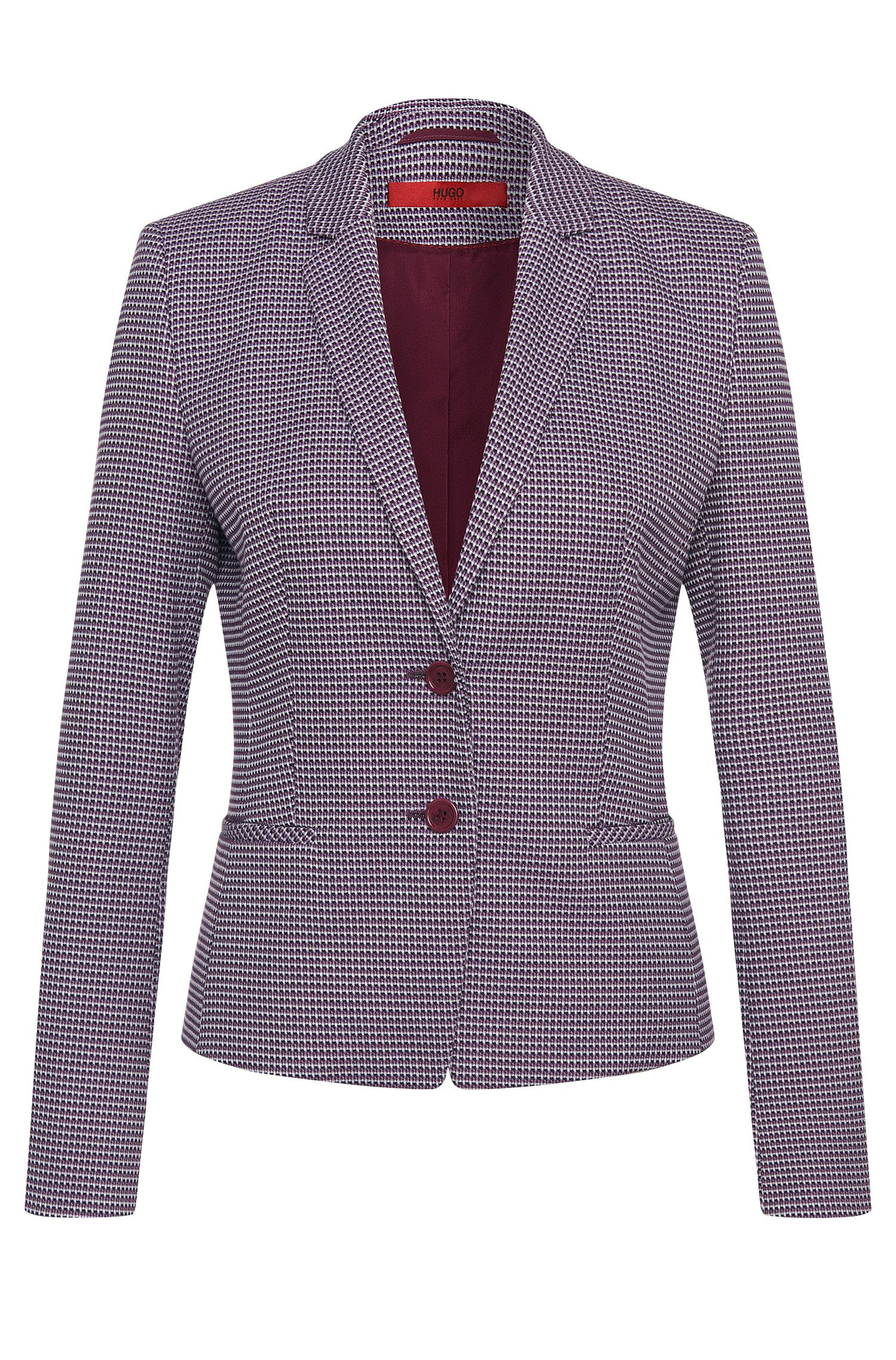 Blazer van stretchkatoen met all-over dessin: 'Afrona'