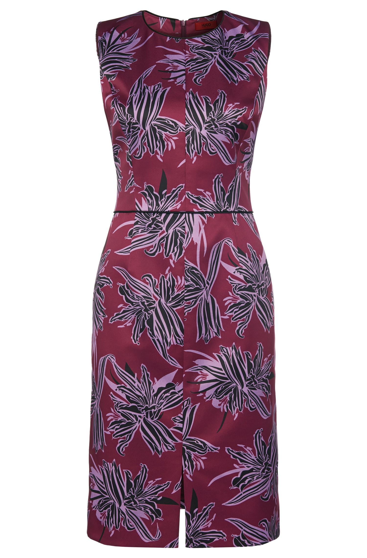 Patterned sheath dress in stretchy fabric blend with contrasting colour piping: 'Klenni-1'