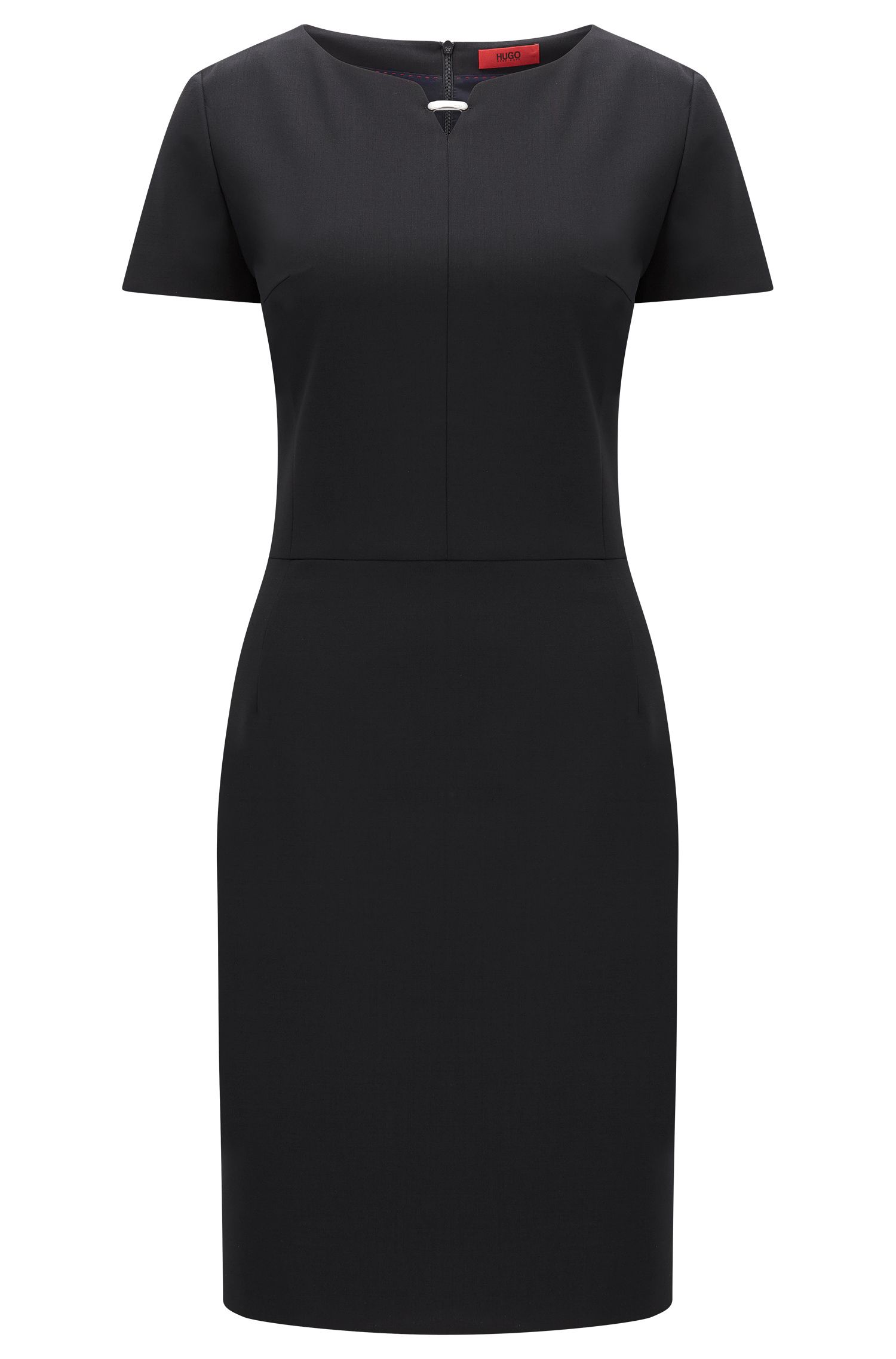 Sheath dress in stretch new wool with metal detail: 'Kikos-1'