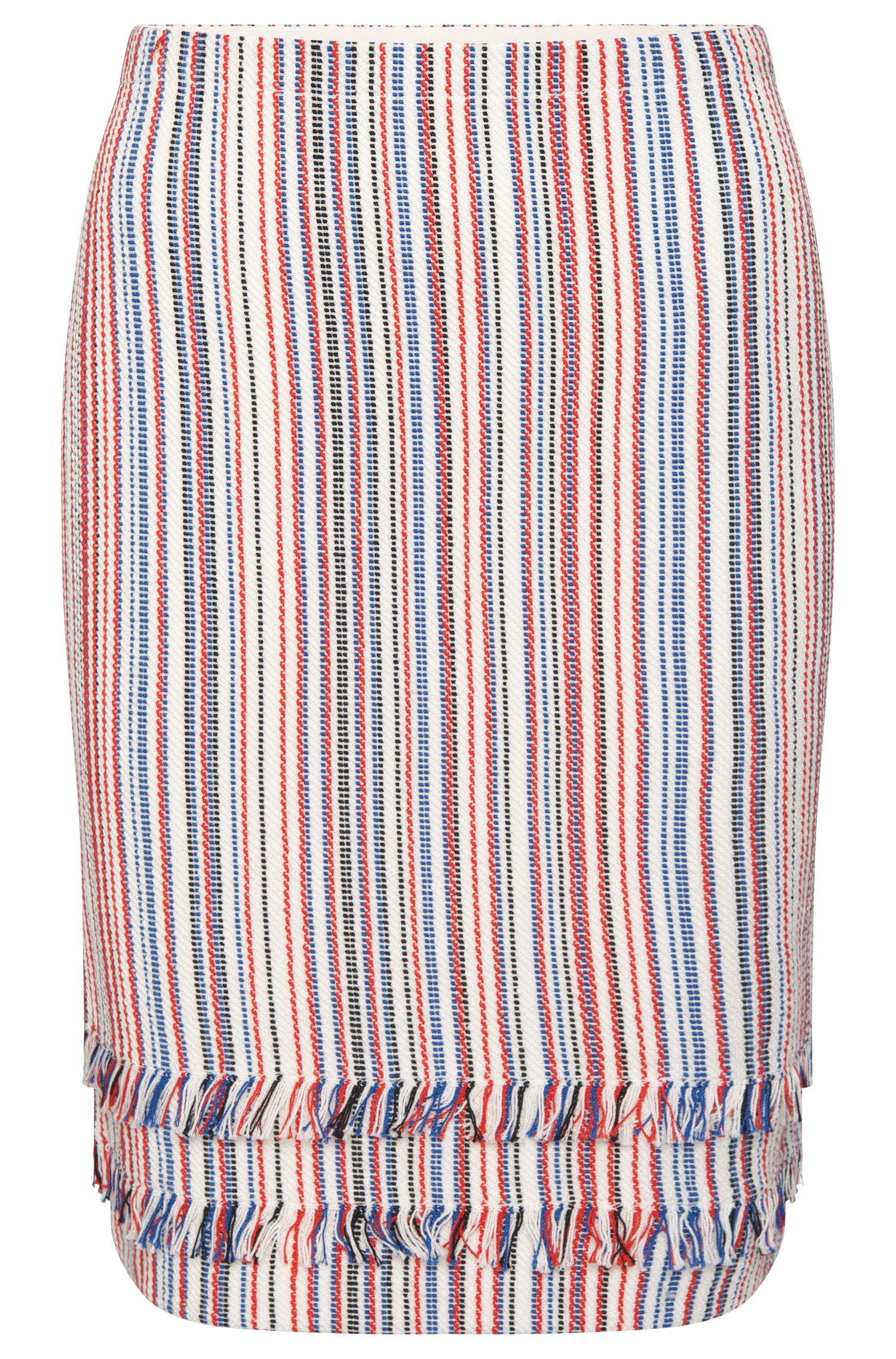 Striped skirt in cotton blend with short fringes: 'Fabienne'