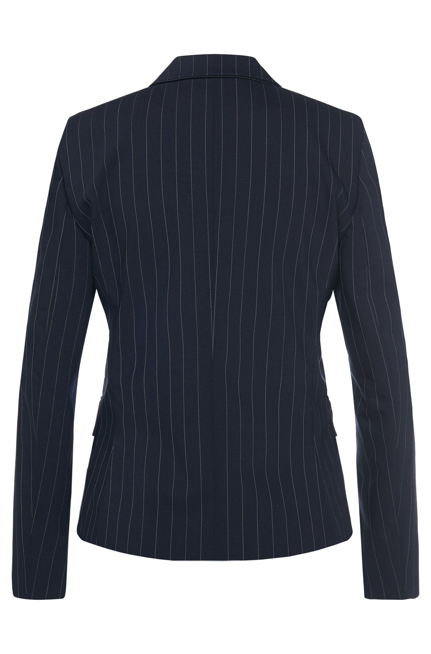 Blazer en laine vierge stretch à rayures fines: «Ainett»