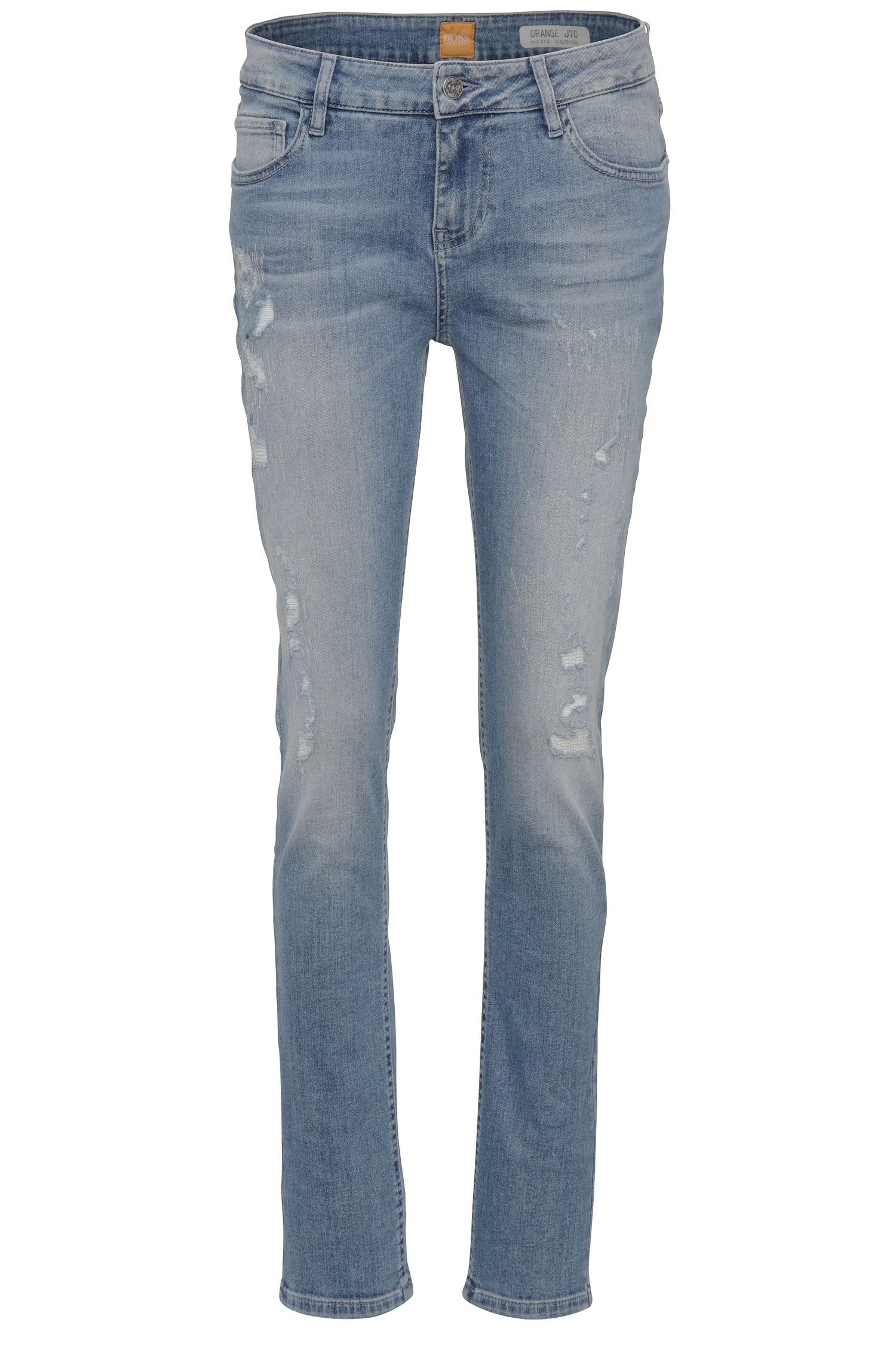 Slim-Fit Jeans aus elastischem Baumwoll-Mix im Used-Look: ´Orange J70`