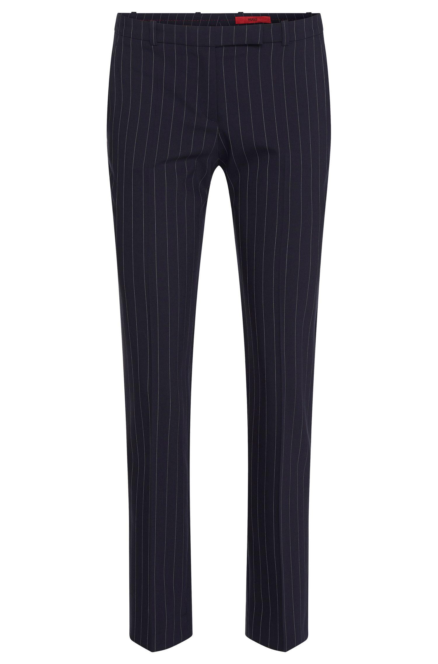 Pantalon Slim Fit en laine vierge extensible, à fines rayures: «Harile-3»