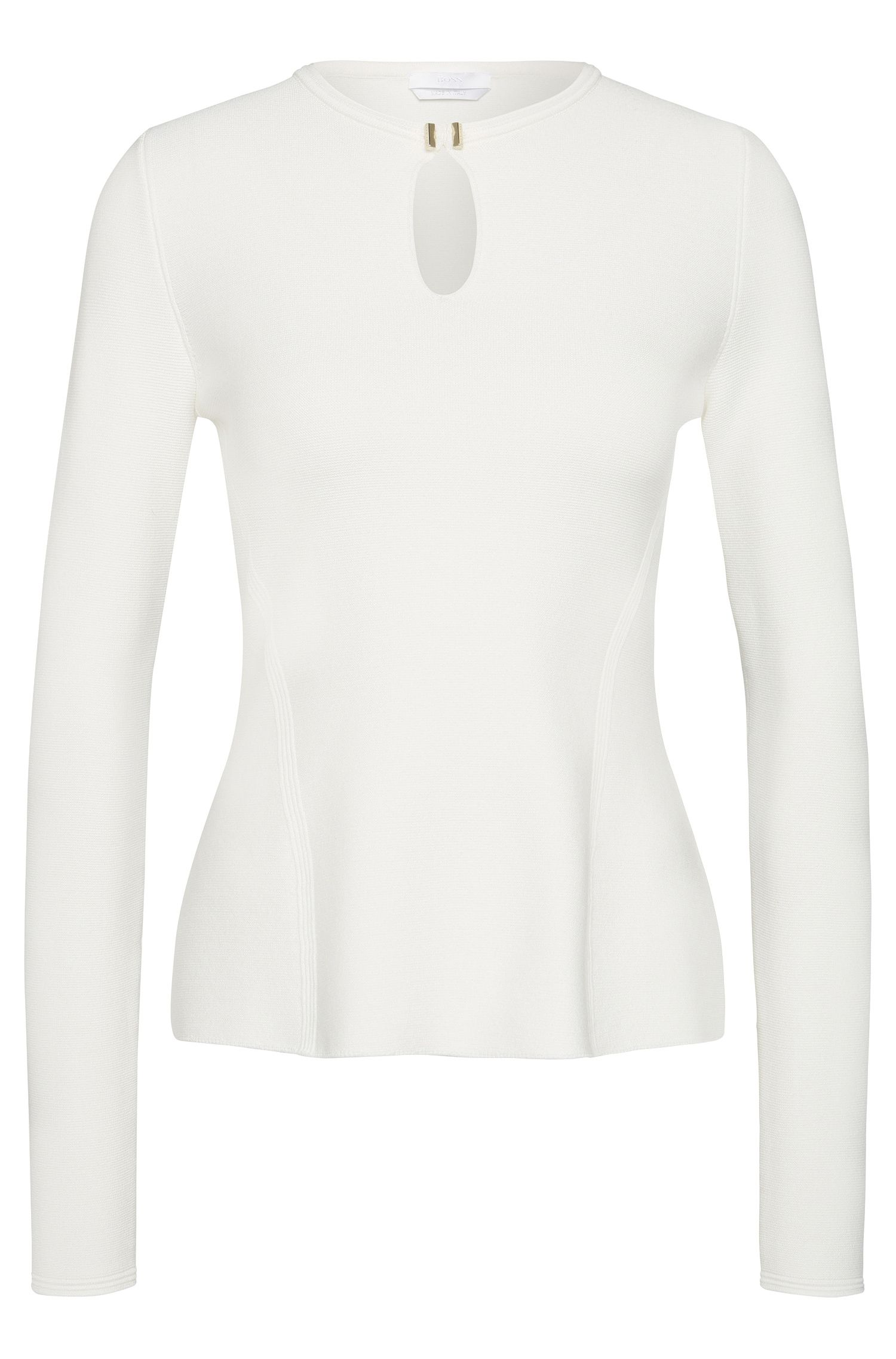 Viscose blend sweater with decorative cut-out: 'Frederica'