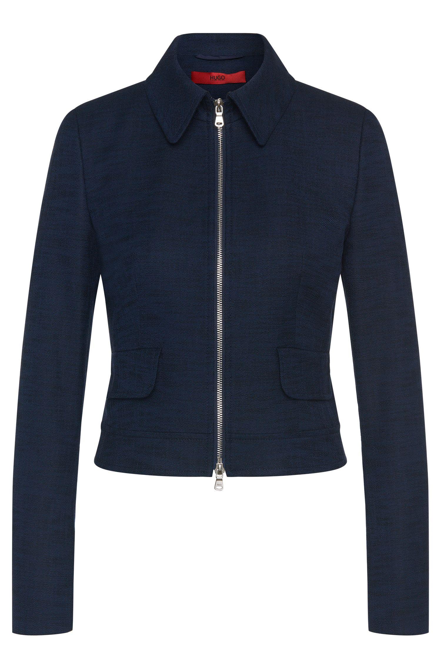Blazer in stretchy cotton blend with zip: 'Adrena'