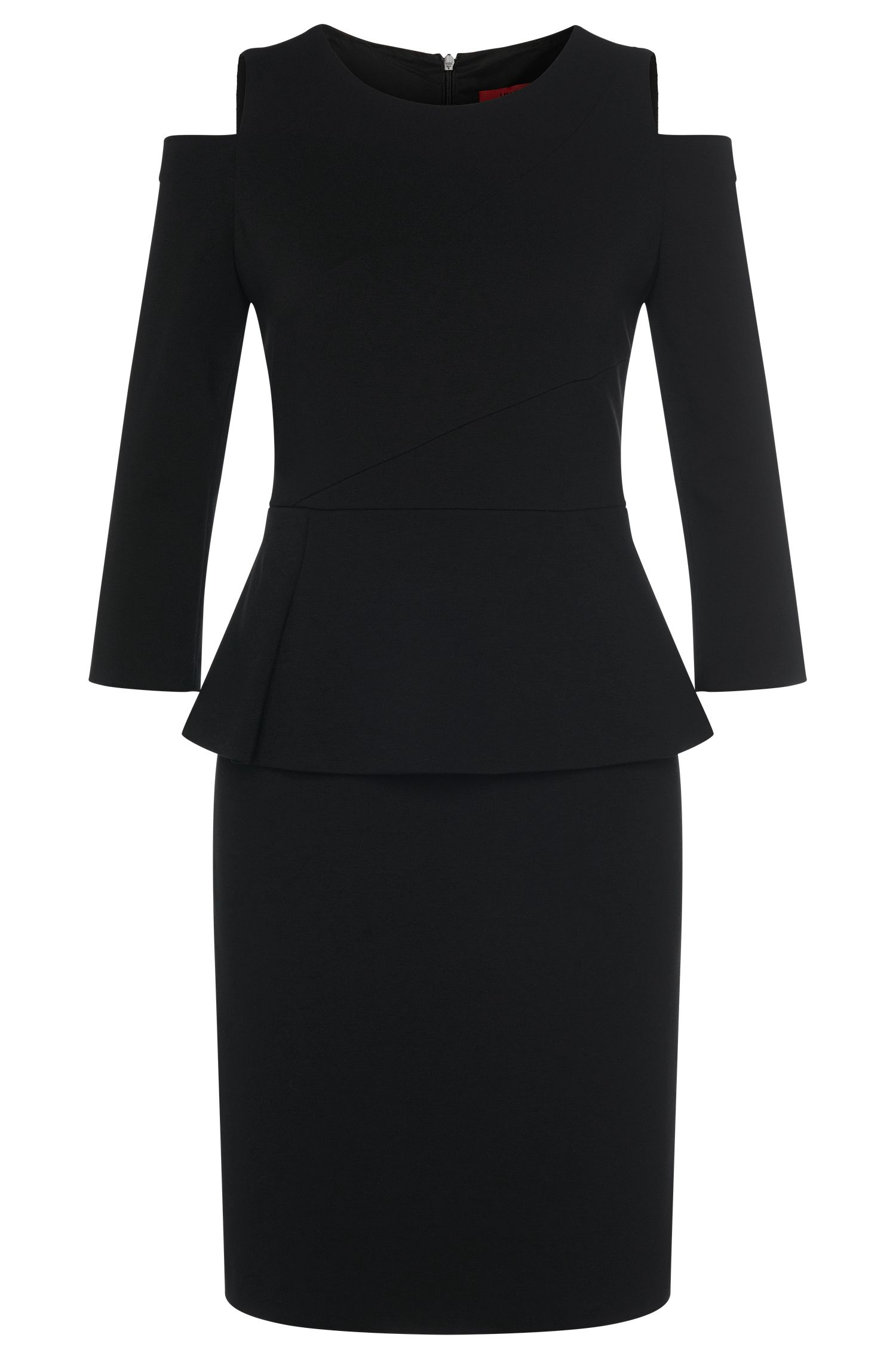 Sheath dress in viscose blend with peplum: 'Kepina'
