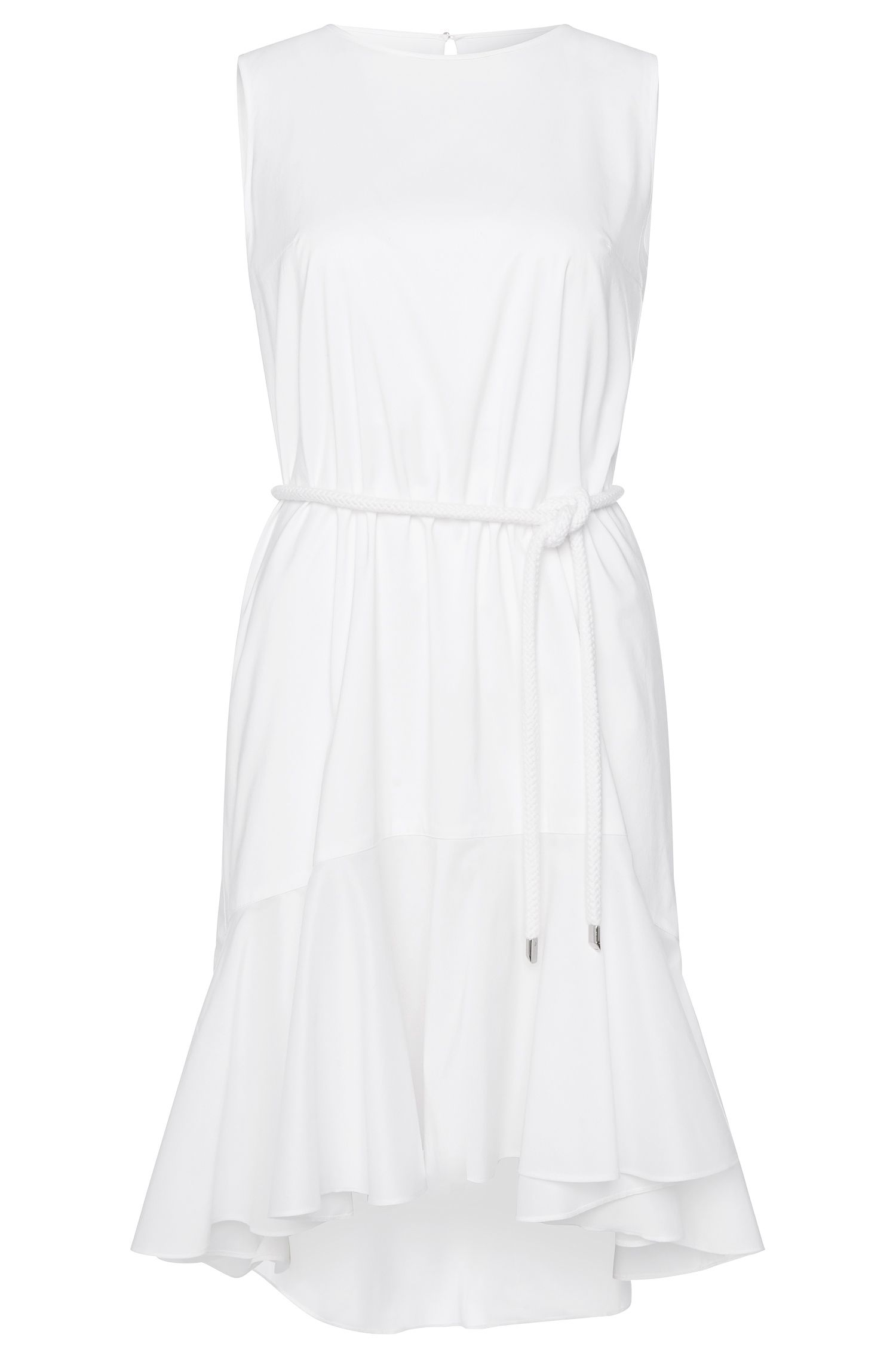 Sleeveless dress in cotton blend with cord: 'Kaleva'