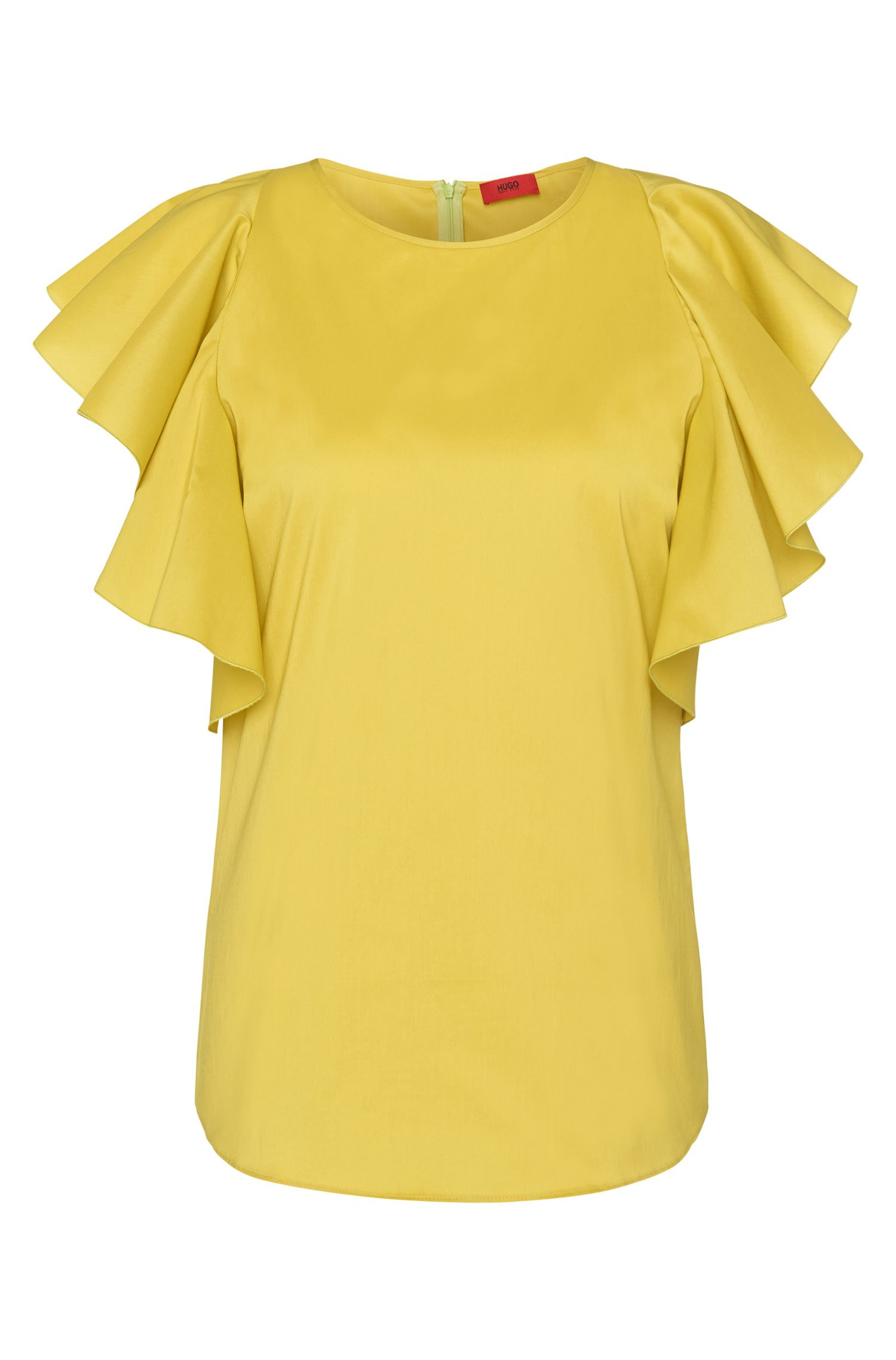 Cotton-blend top with cap sleeves: 'Cullani'