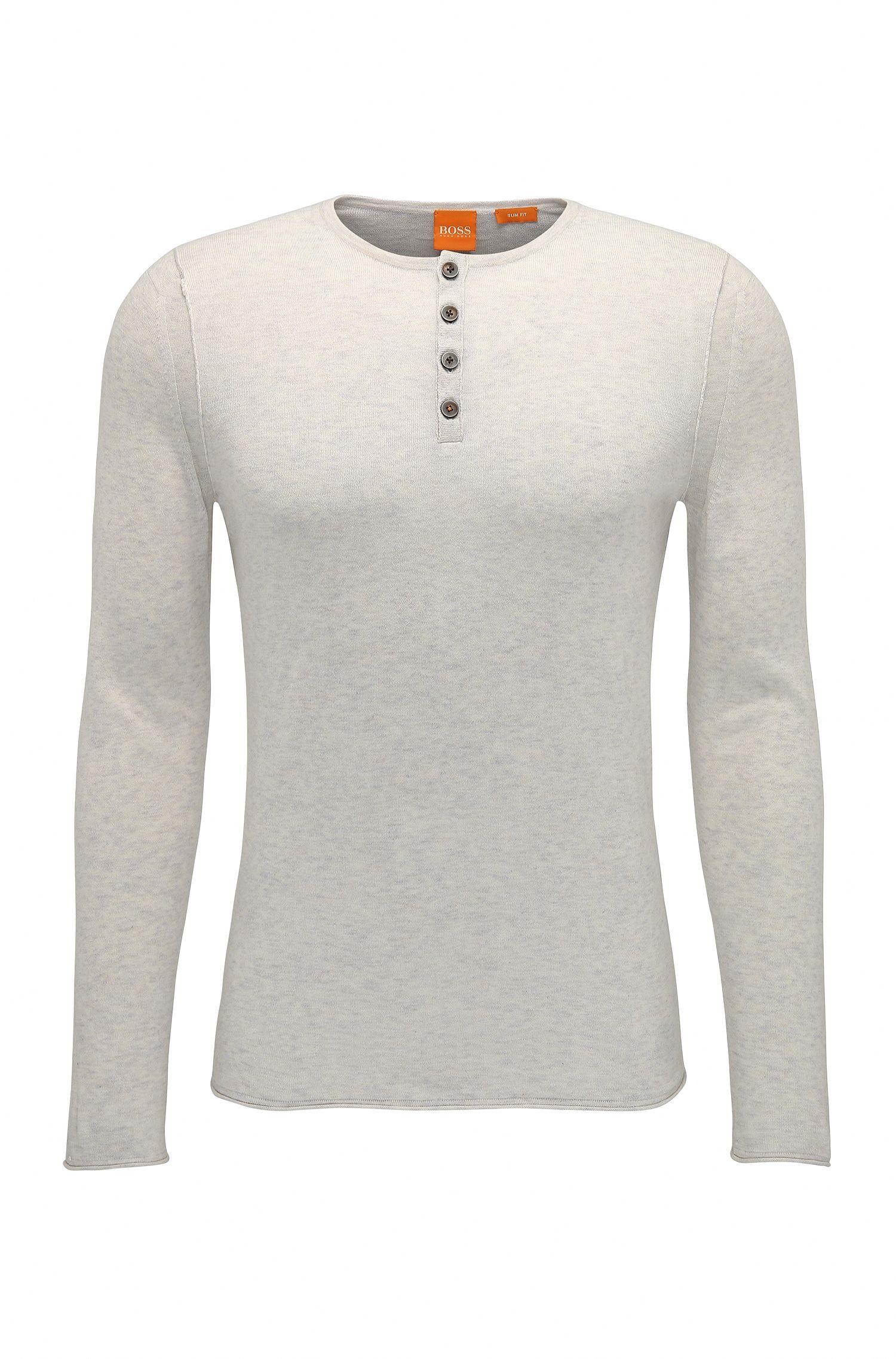 Slim-Fit Strickpullover aus Baumwolle im Henley-Stil: ´Koastles`