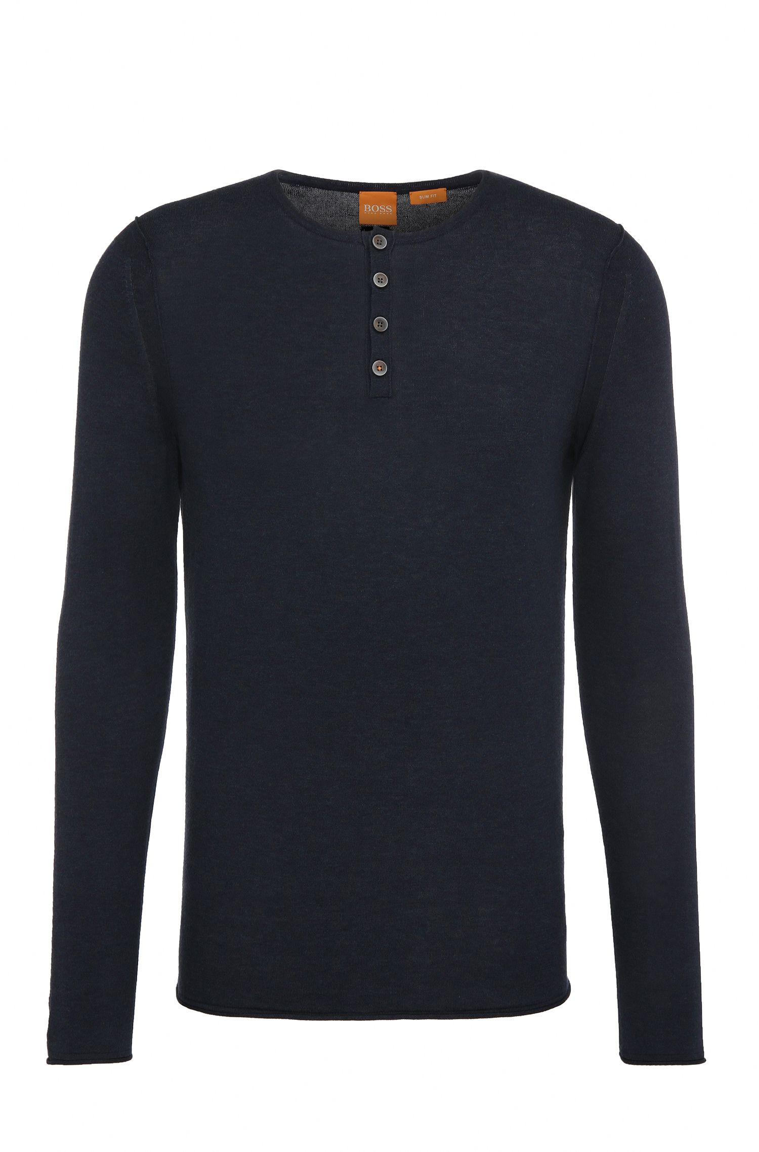 Slim-fit knit sweater made from cotton in Henley style: 'Koastles'