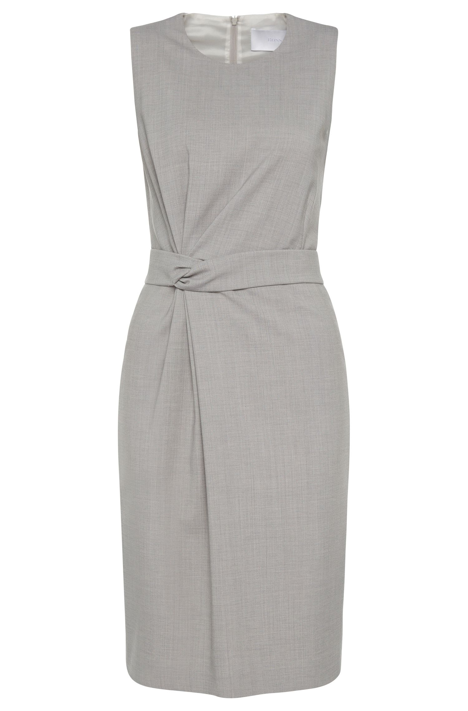 Sheath dress in stretch new wool with decorative gathering: 'Dimesa'