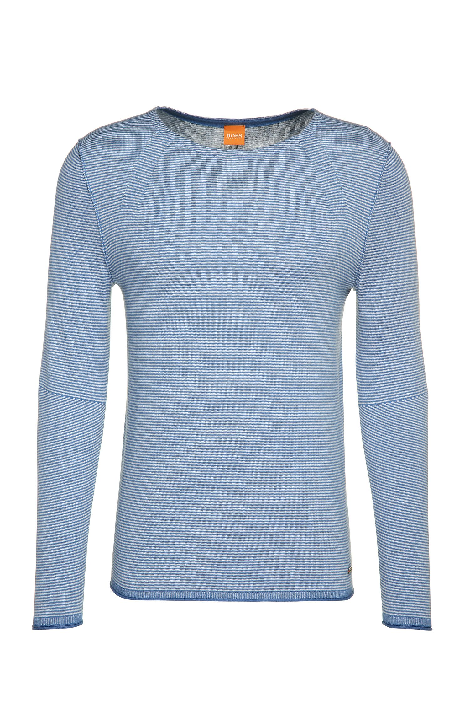 Gestreepte trui van een katoenmix met viscose en zijde: 'Aleynsir'