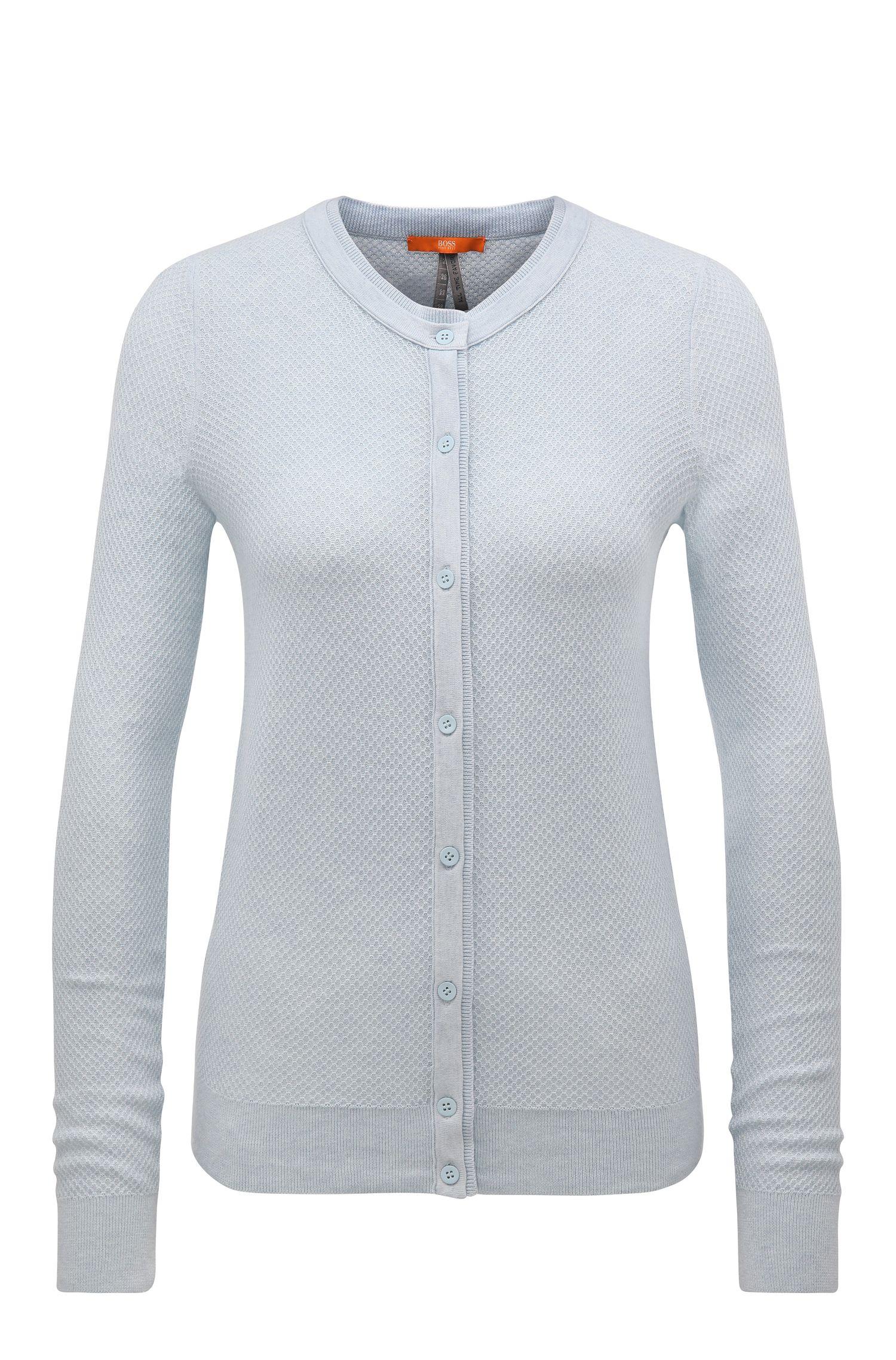 Veste en maille Regular Fit en coton mélangé à teneur en soie, à la texture gaufrée: «Issy_2»