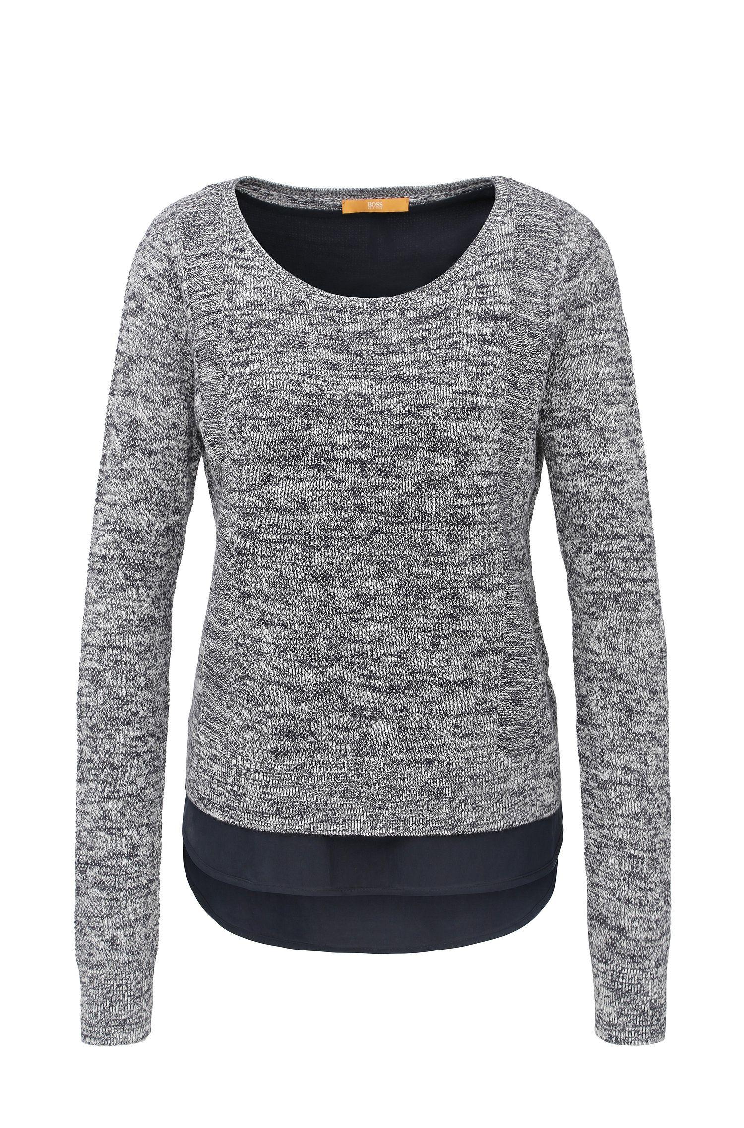 Gebreide relaxed-fit trui van een linnenmix met katoen in laagjeslook: 'Warradyn'
