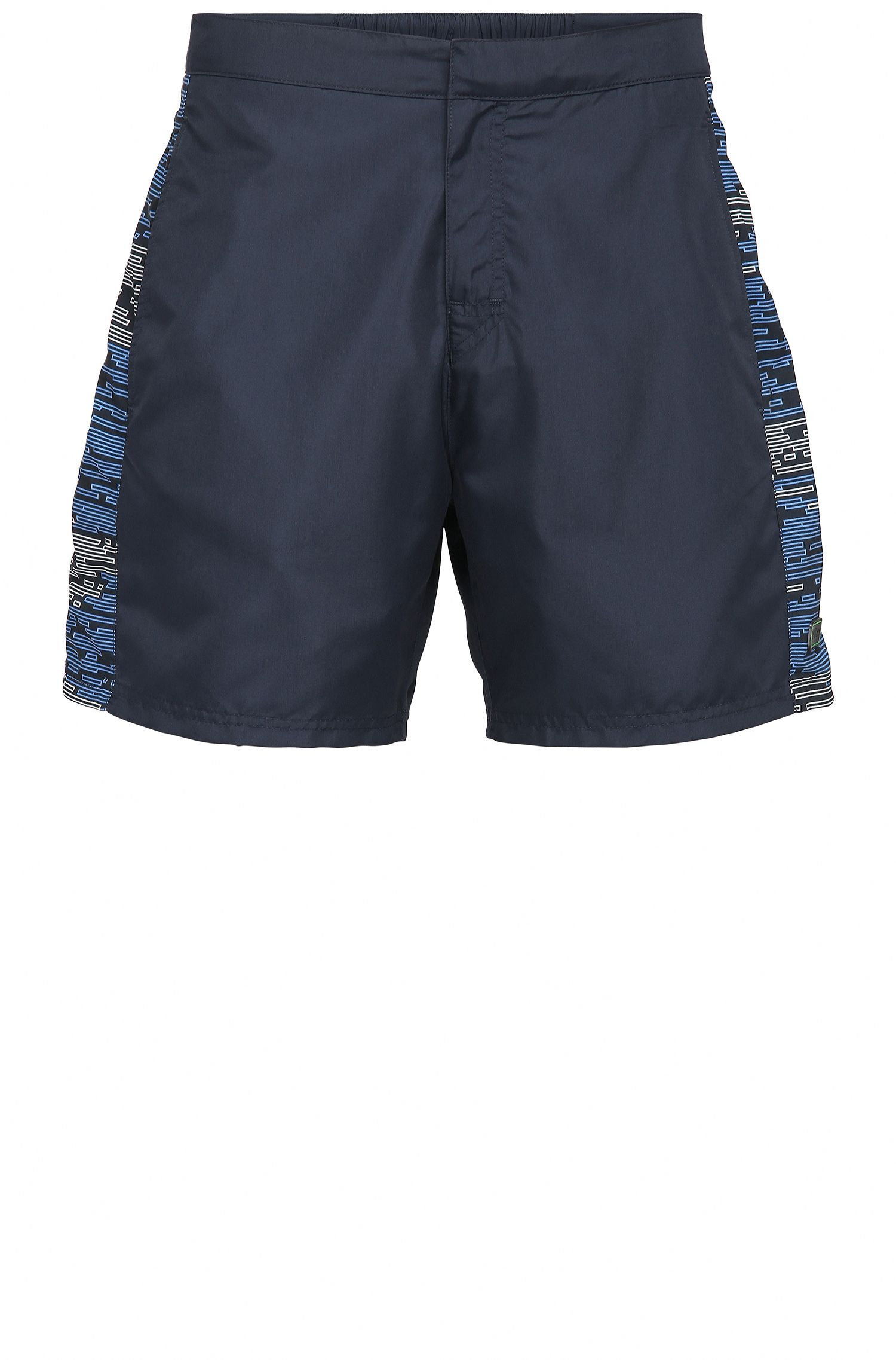 Regular-fit swim shorts in material blend with patterned sections: 'Aruba'