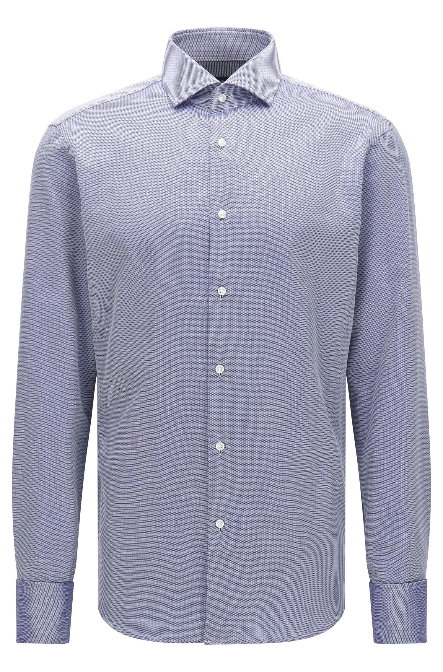 Finely patterned regular-fit shirt in cotton with turn-back cuffs: 'Gardner'