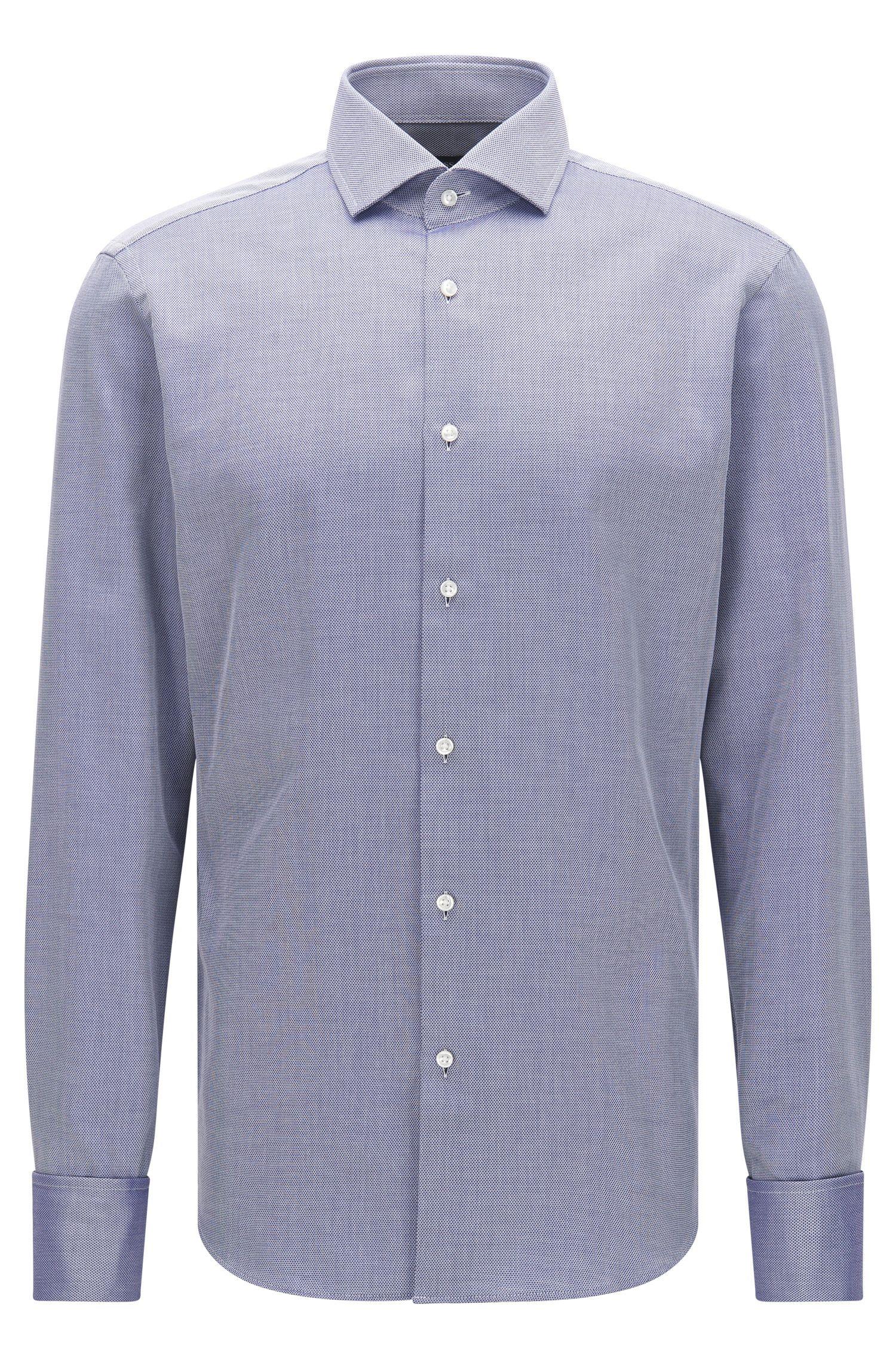 Chemise Regular Fit à fin motif en coton dotée de poignets mousquetaires: «Gardner»