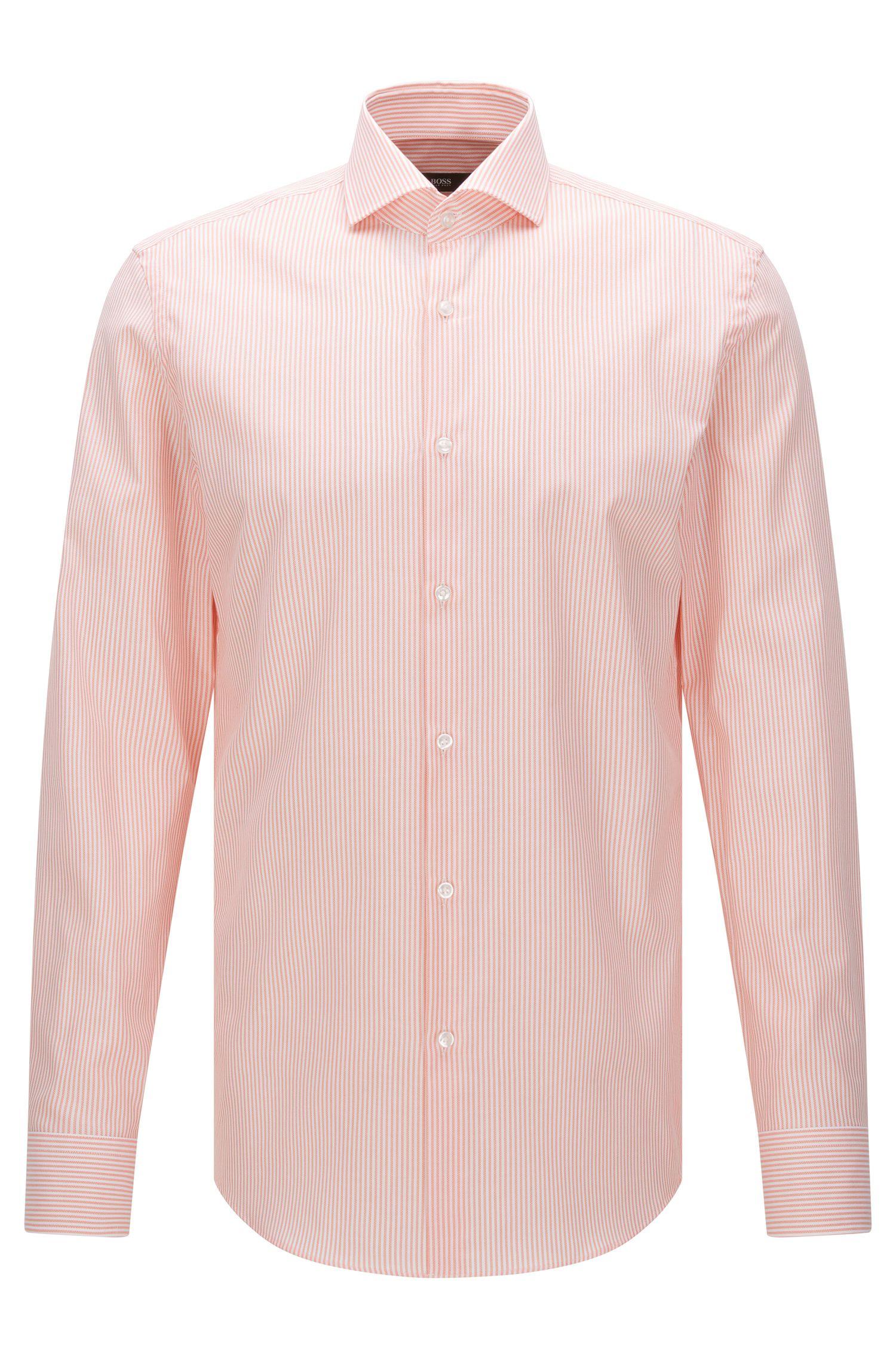 Striped slim-fit shirt in textured cotton: 'Jason'