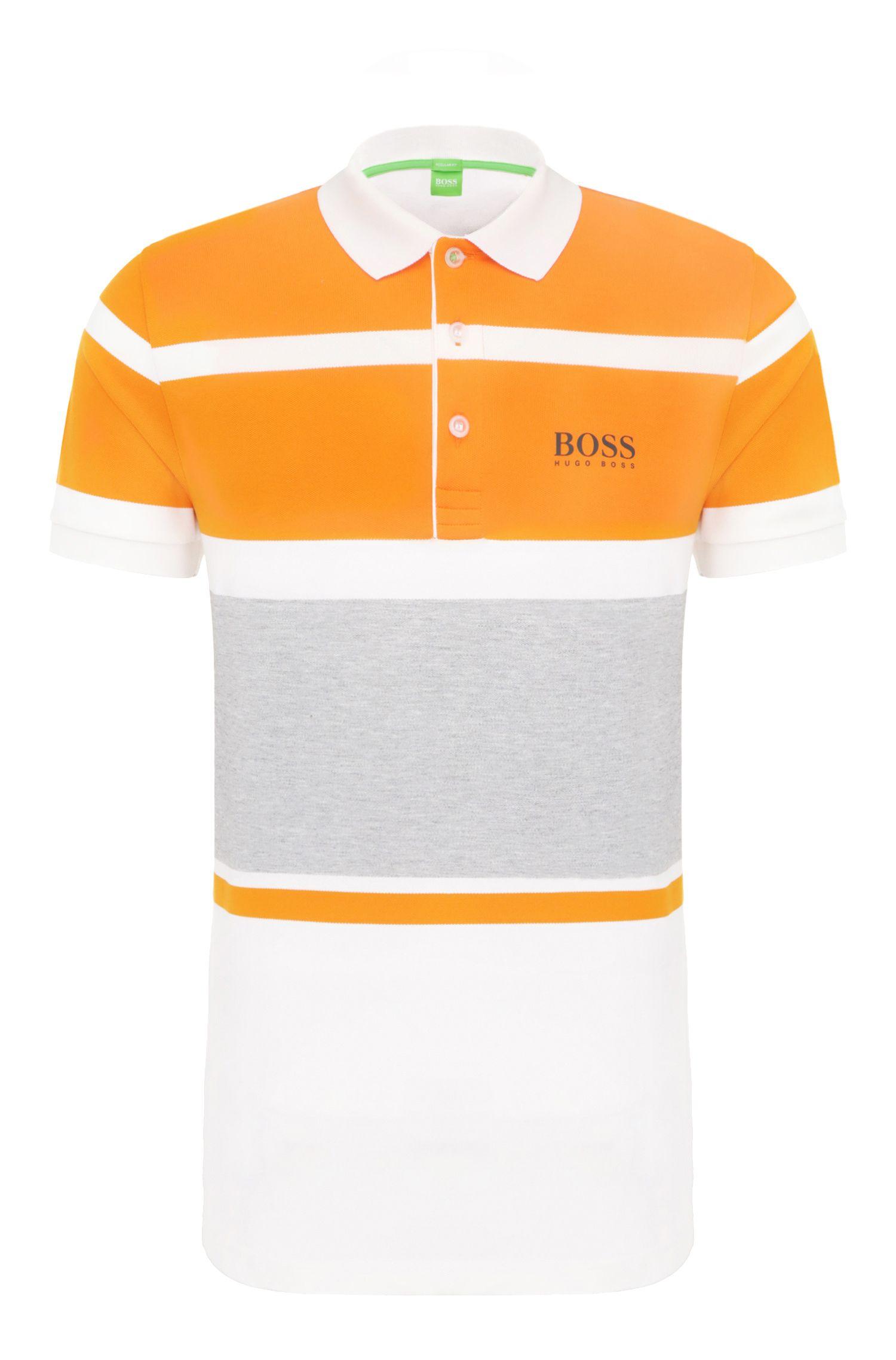 Polo regular fit in cotone elasticizzato con motivo a righe: 'Paddy Pro 1'