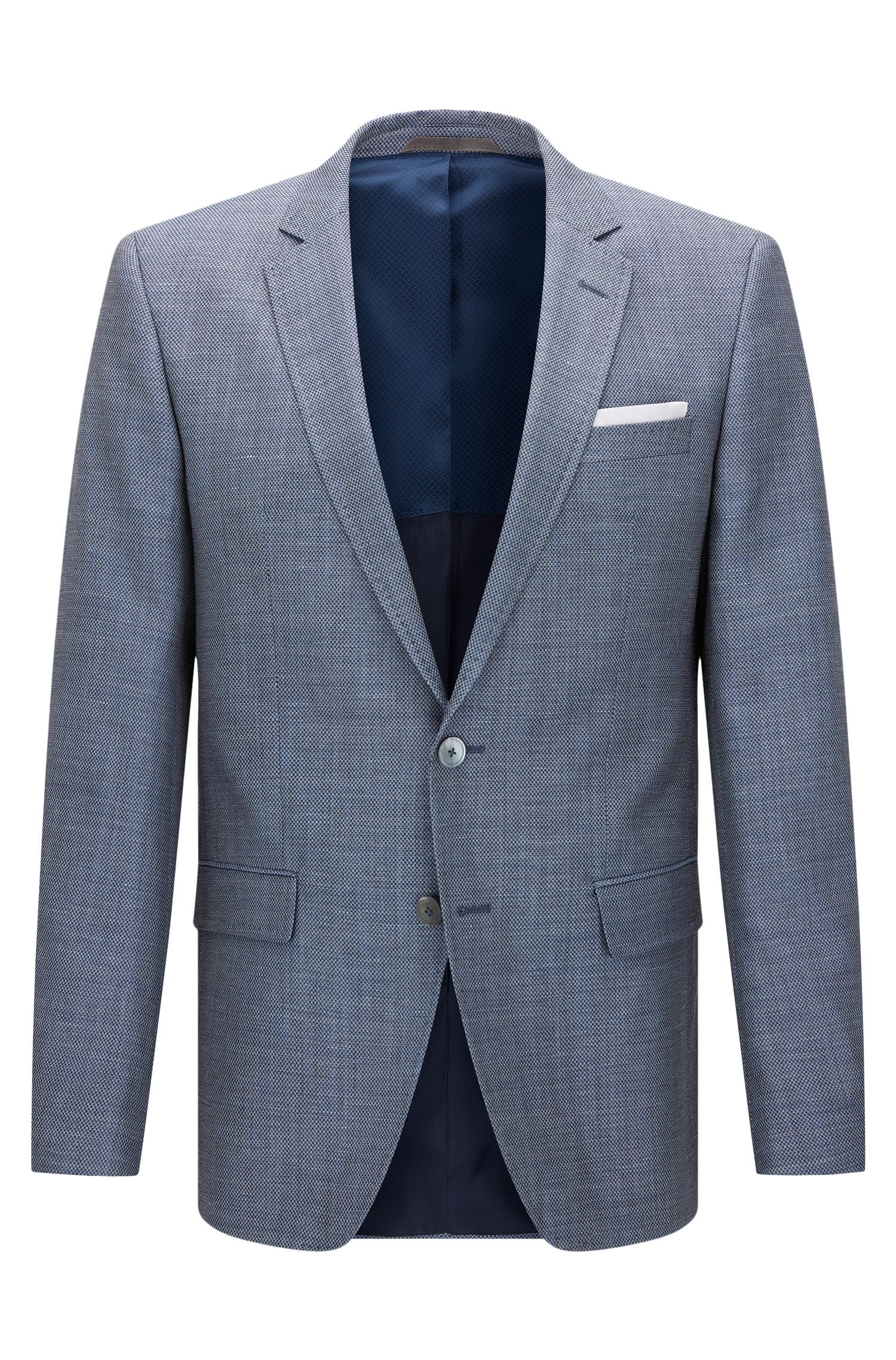 Patterned slim-fit jacket in new wool blend with linen: 'Hutsons3'