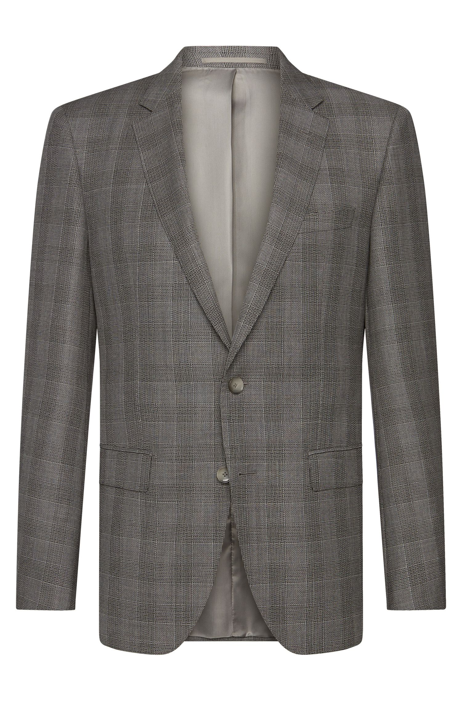 Checked slim-fit Tailored jacket in new wool: 'T-Heel1'