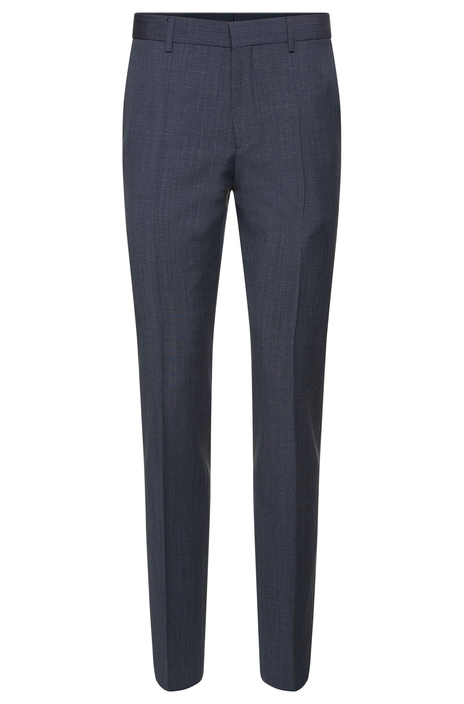 Slim-fit broek van fijngemêleerde scheerwol: 'Genesis2'