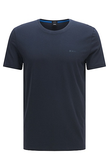 常规版同色logo细节纯棉T恤,  402_暗蓝色