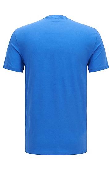 常规版同色logo细节棉质T恤,  421_中蓝色