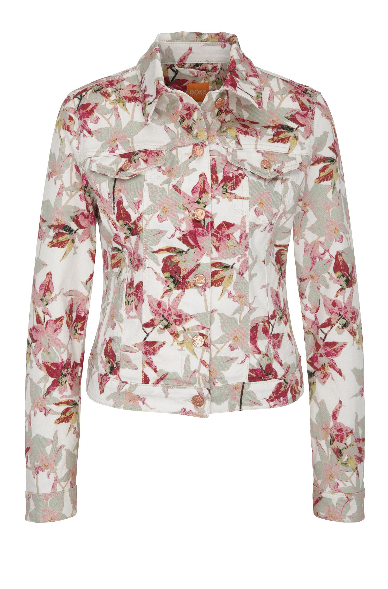 Jeans jacket in stretch cotton blend with a floral pattern: 'Orange J90 Portland'