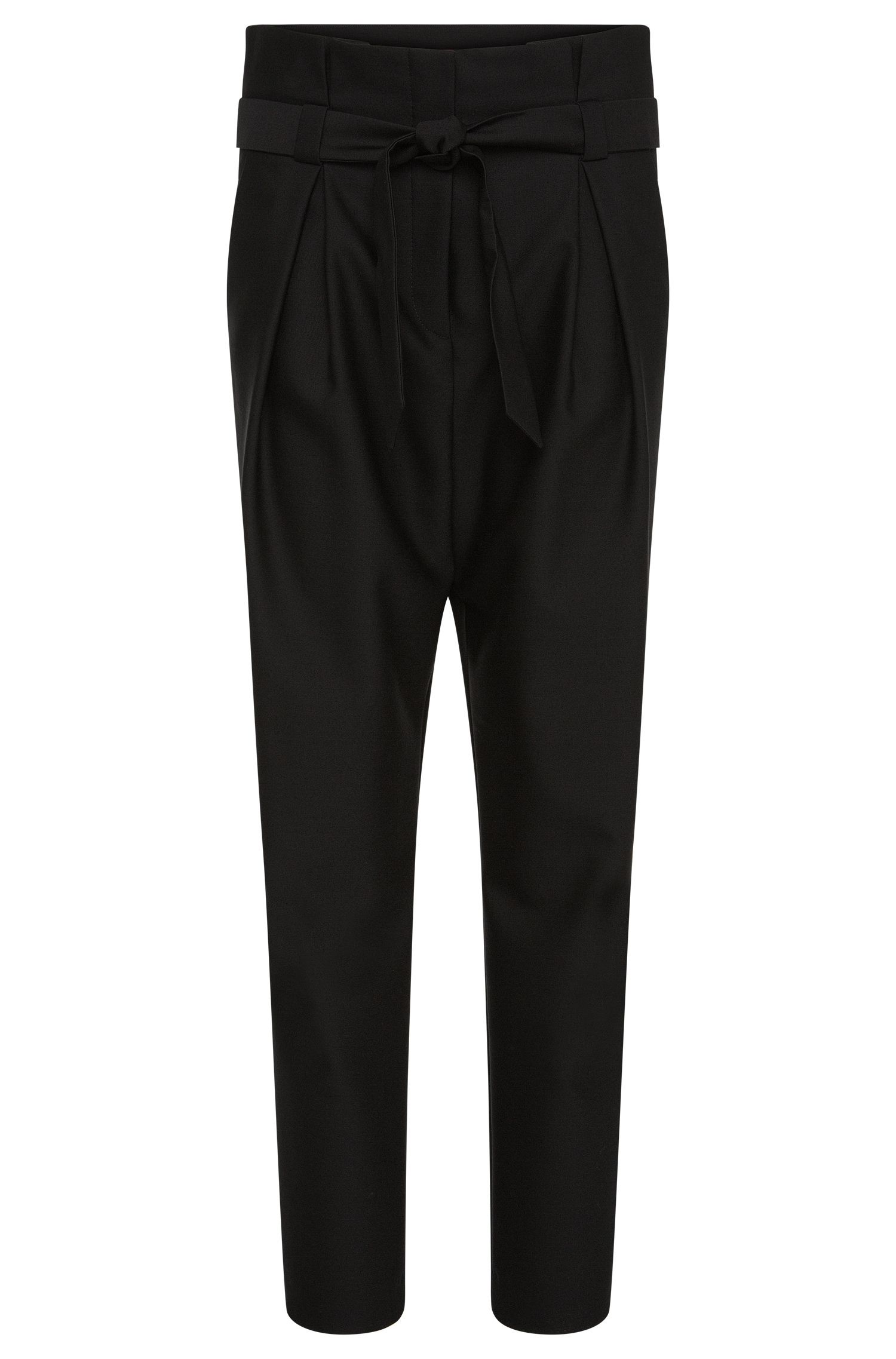 High-waisted trousers in a woollen blend with cotton: 'Hindas'