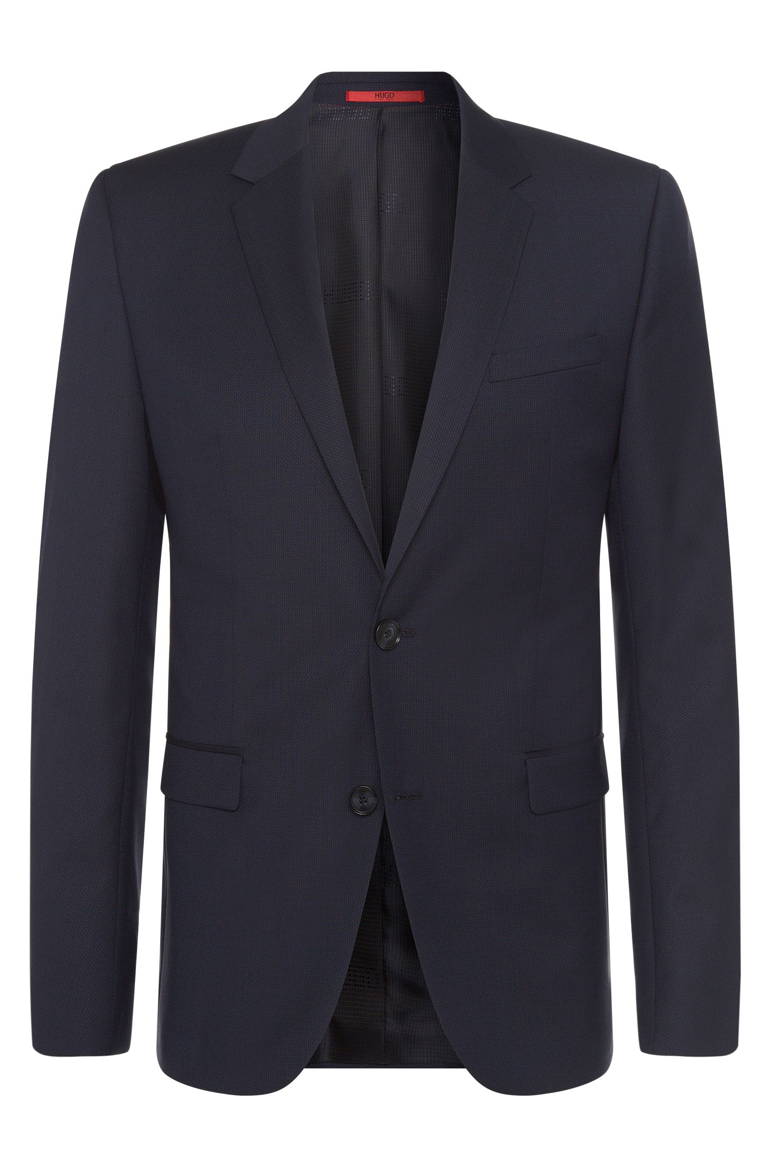 Finely textured slim-fit jacket in new wool: 'Astian'