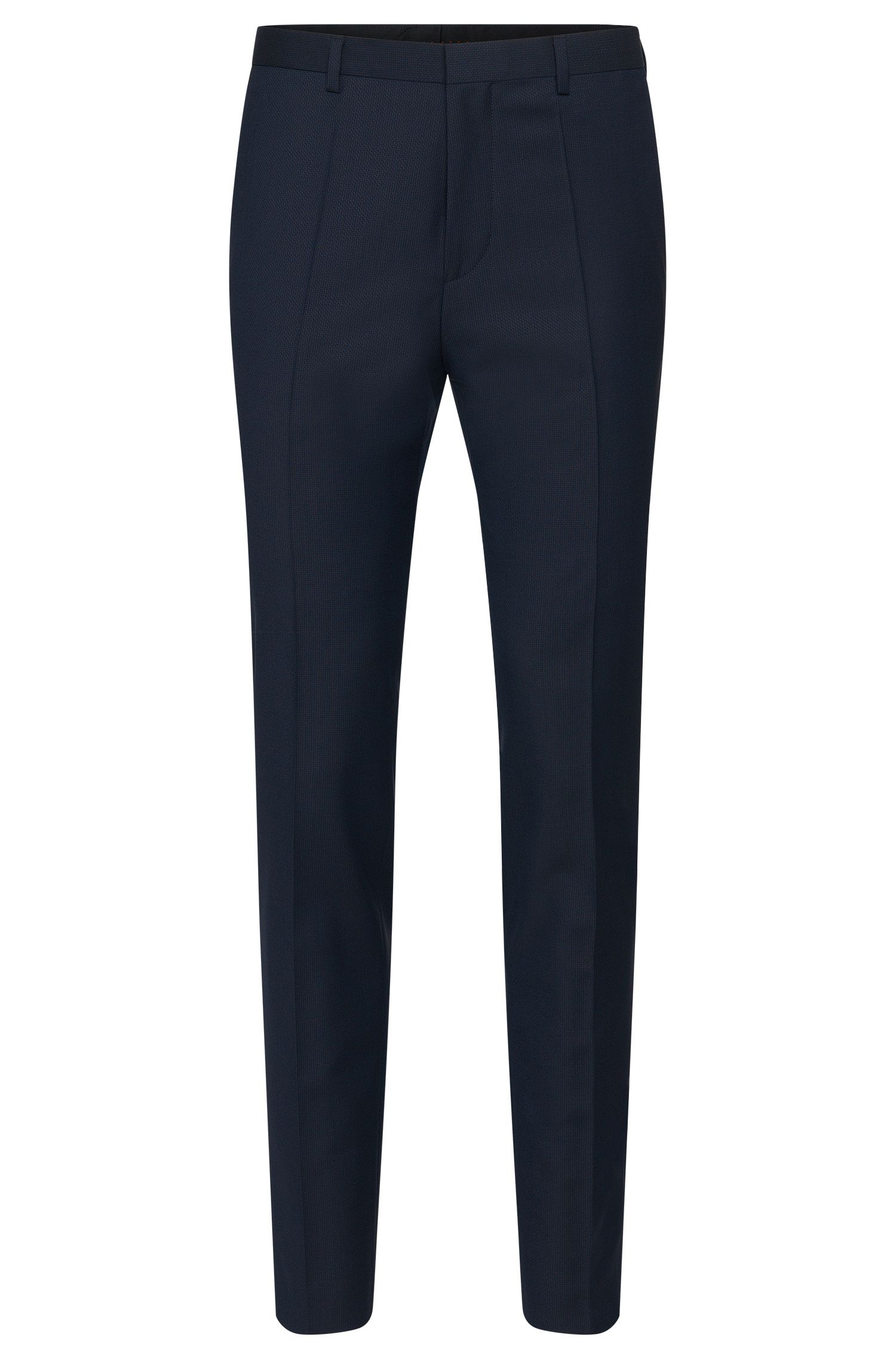 Textured slim-fit trousers in new wool: 'Hets'