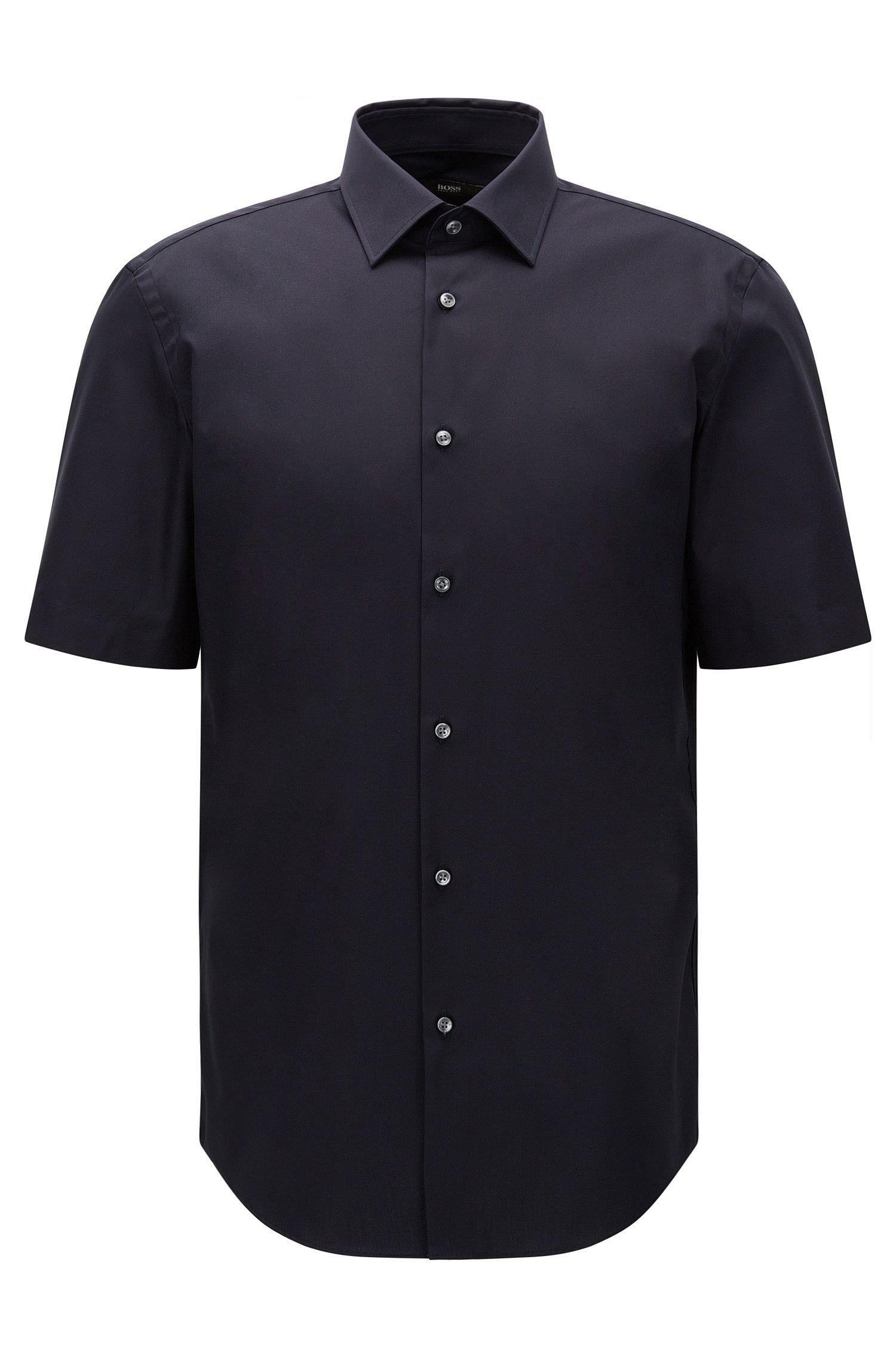 Regular-fit short-sleeved shirt in easy-iron cotton: 'Cinzio'