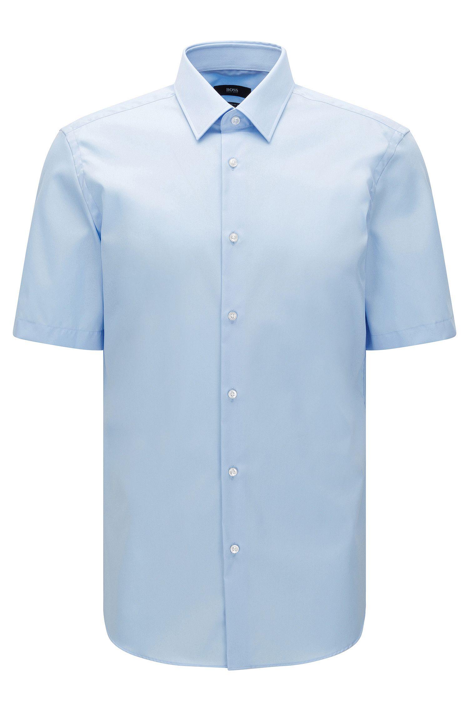 Camicia a maniche corte regular fit in cotone facile da stirare: 'Cinzio'
