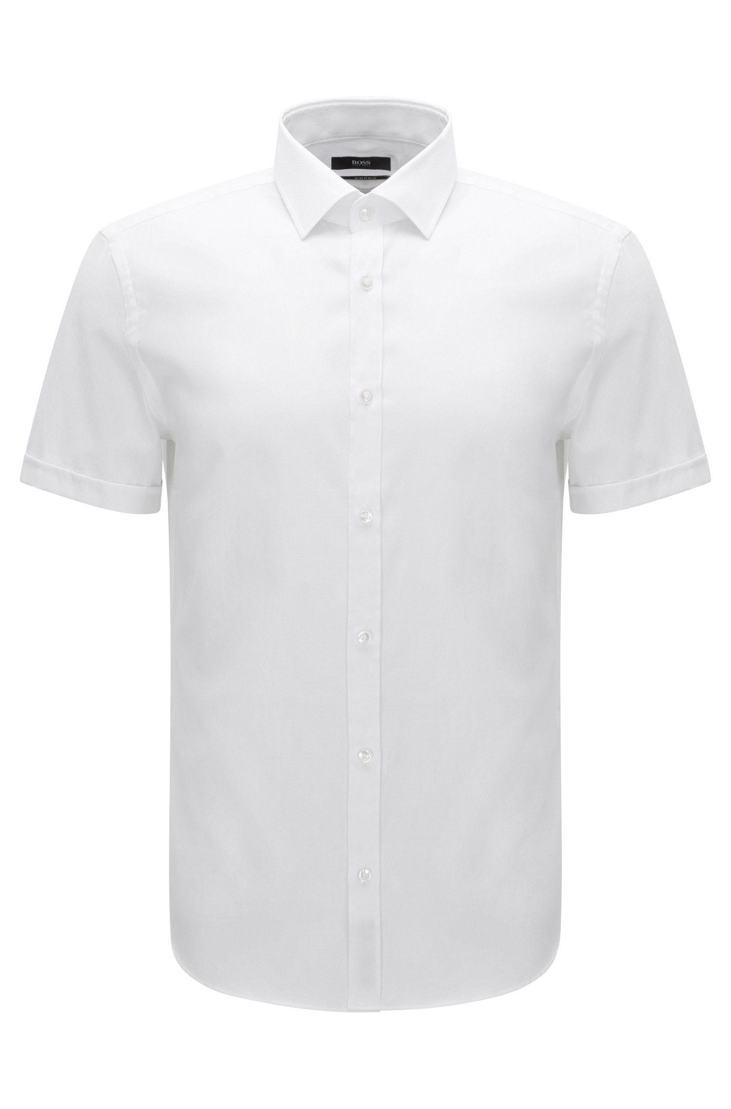 Slim-Fit Kurzarm-Hemd aus strukturierter Baumwolle: 'Jats'