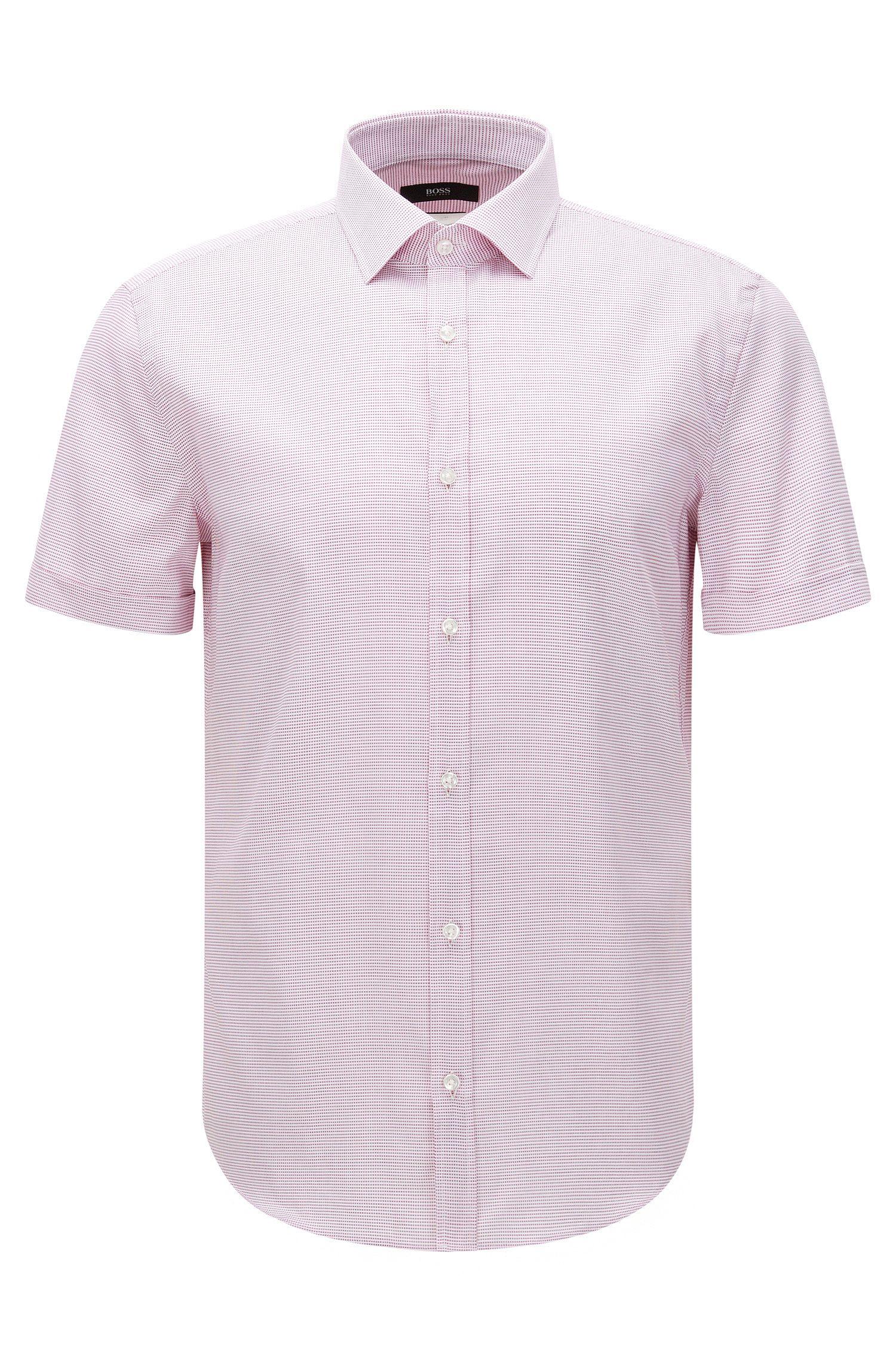 Camisa de manga corta slim fit de algodón con textura: 'Jats'